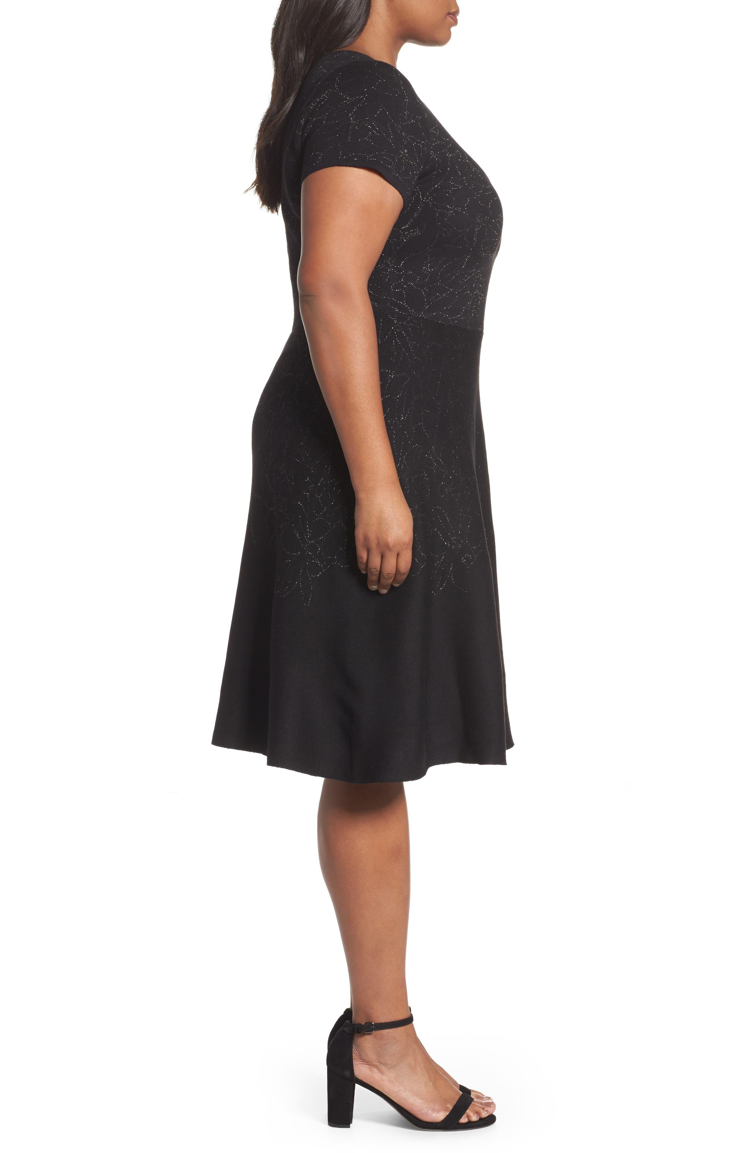 Alternate Image 3  - Taylor Dresses Metallic Knit Fit & Flare Dress (Plus Size)