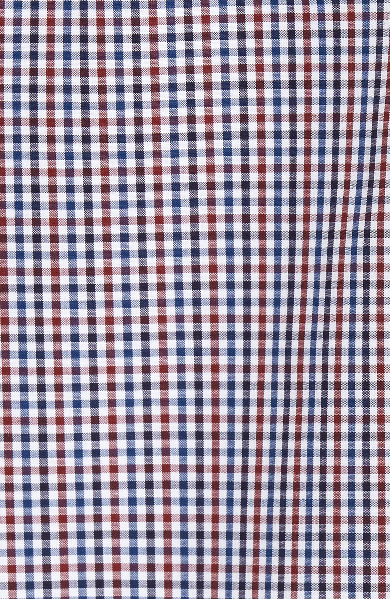 Spade Trim Fit Non-Iron Mini Check Sport Shirt,                             Alternate thumbnail 5, color,                             White Red Mini Check