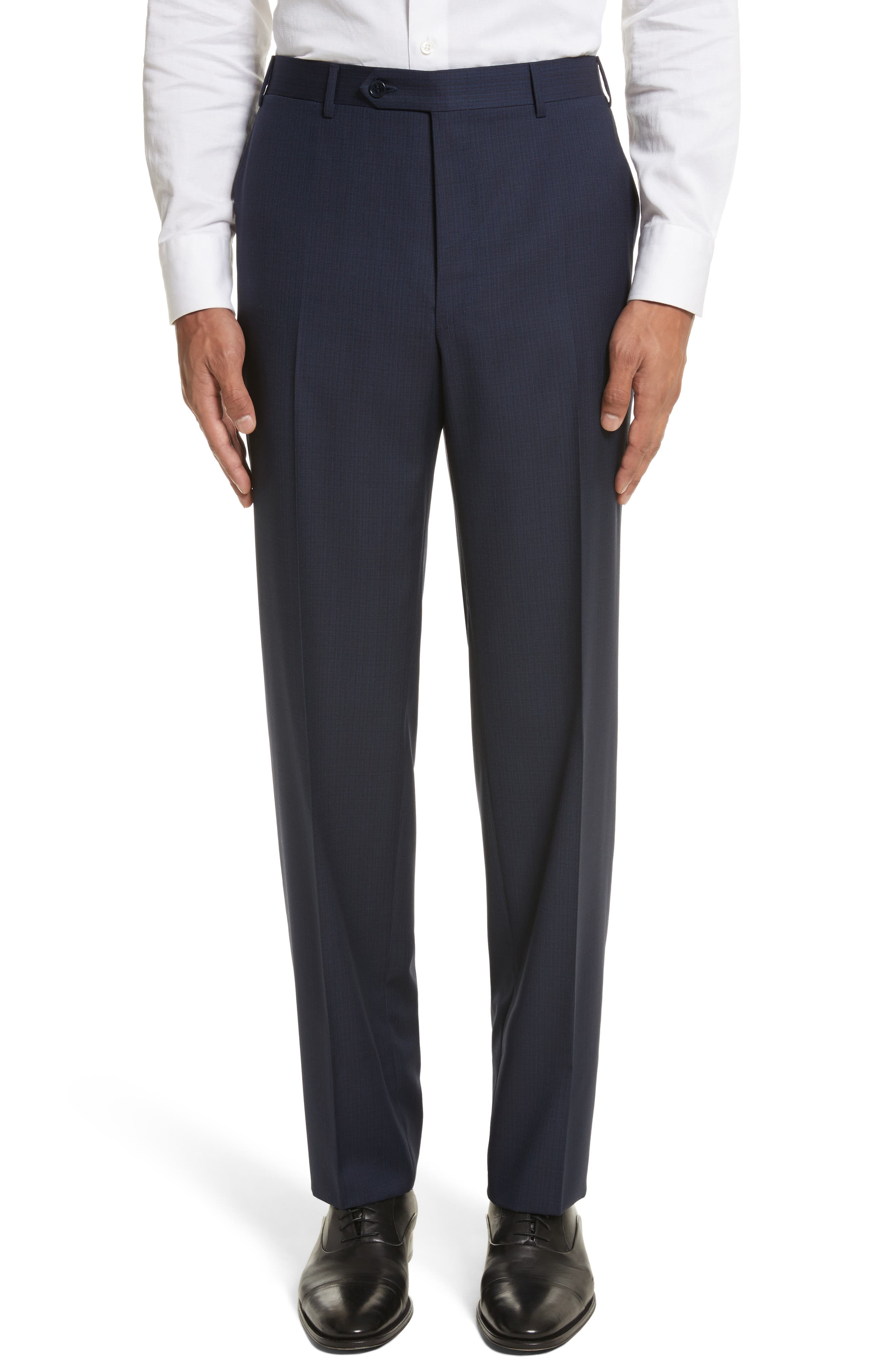 Flat Front Check Wool Trousers,                             Main thumbnail 1, color,                             Blue