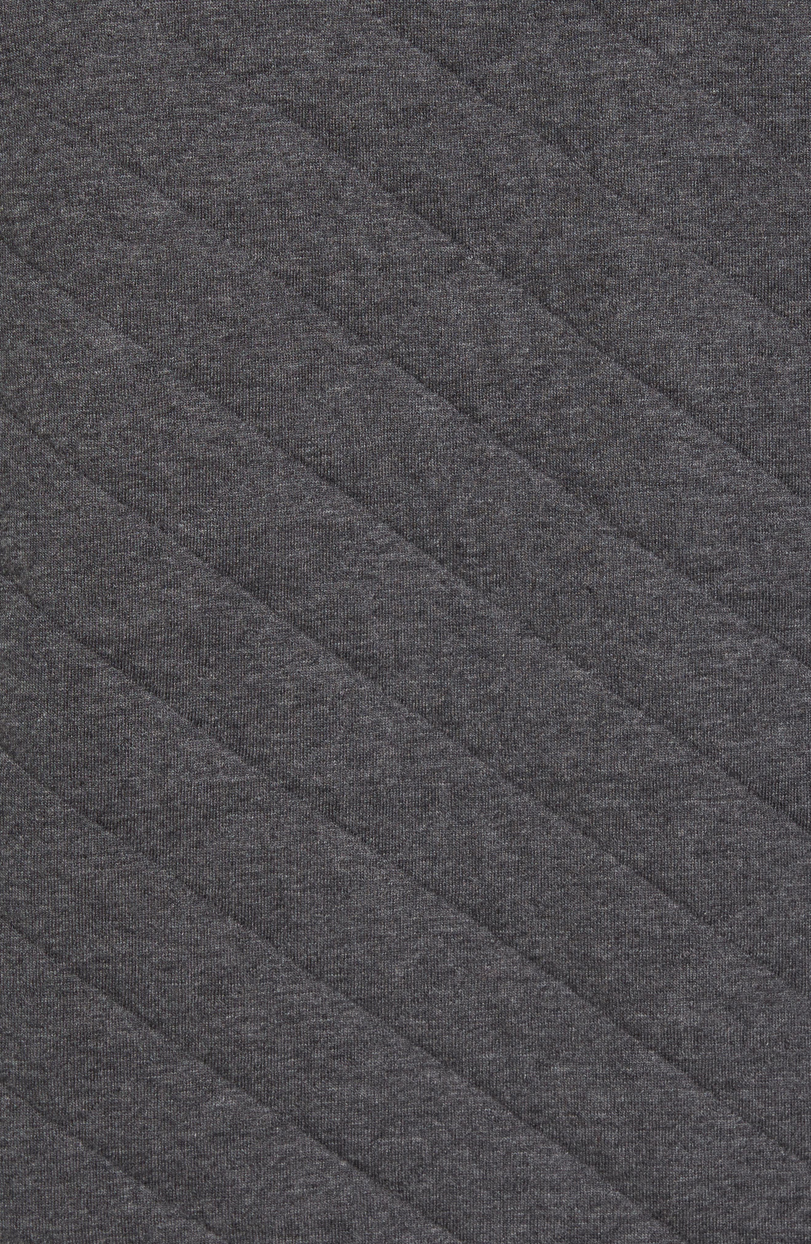 Quilted Quarter Zip Pullover,                             Alternate thumbnail 5, color,                             Charcoal Heather