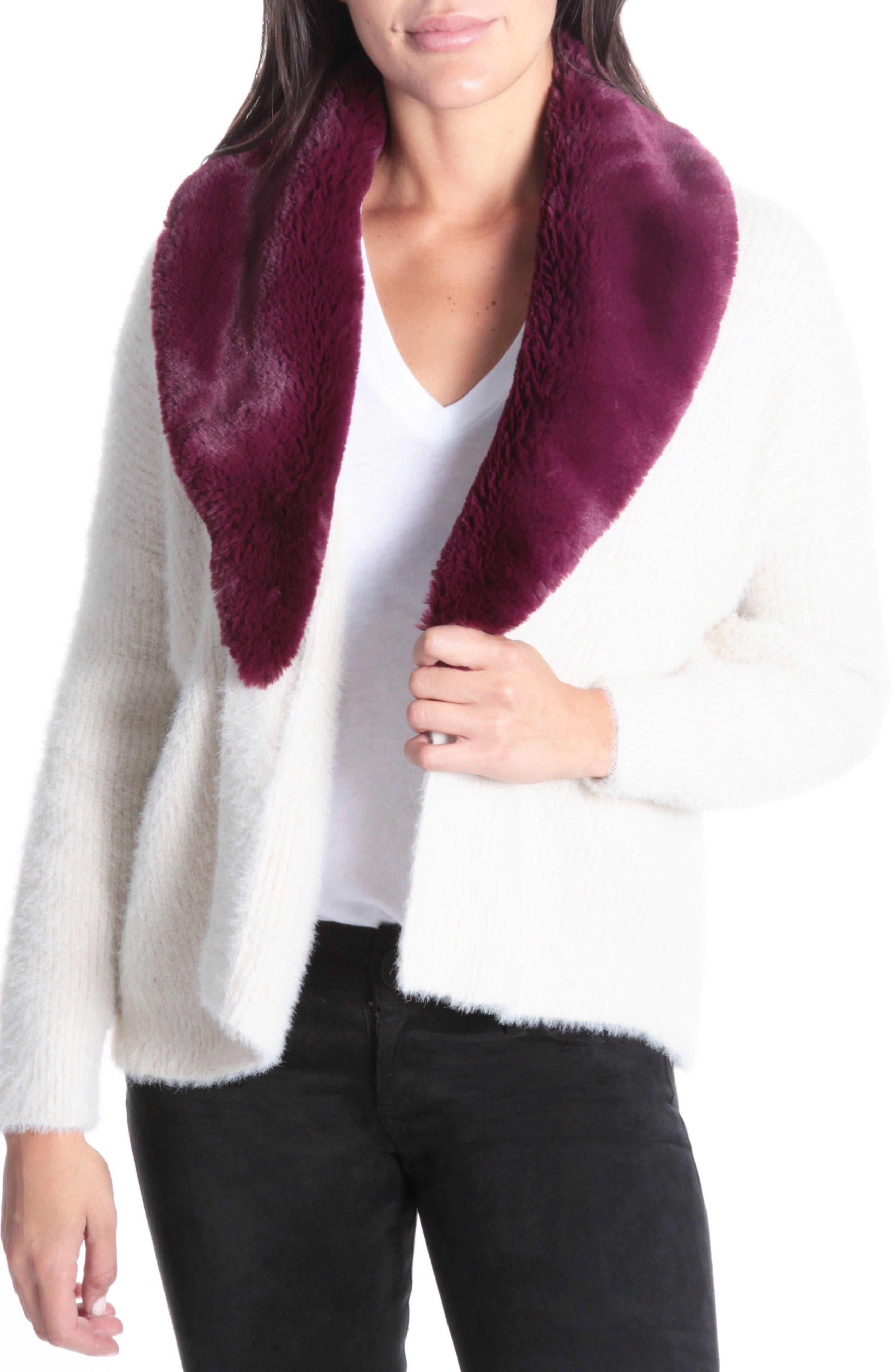 Fredrica Faux Fur Collar Knit Sweater,                             Main thumbnail 1, color,                             Cream