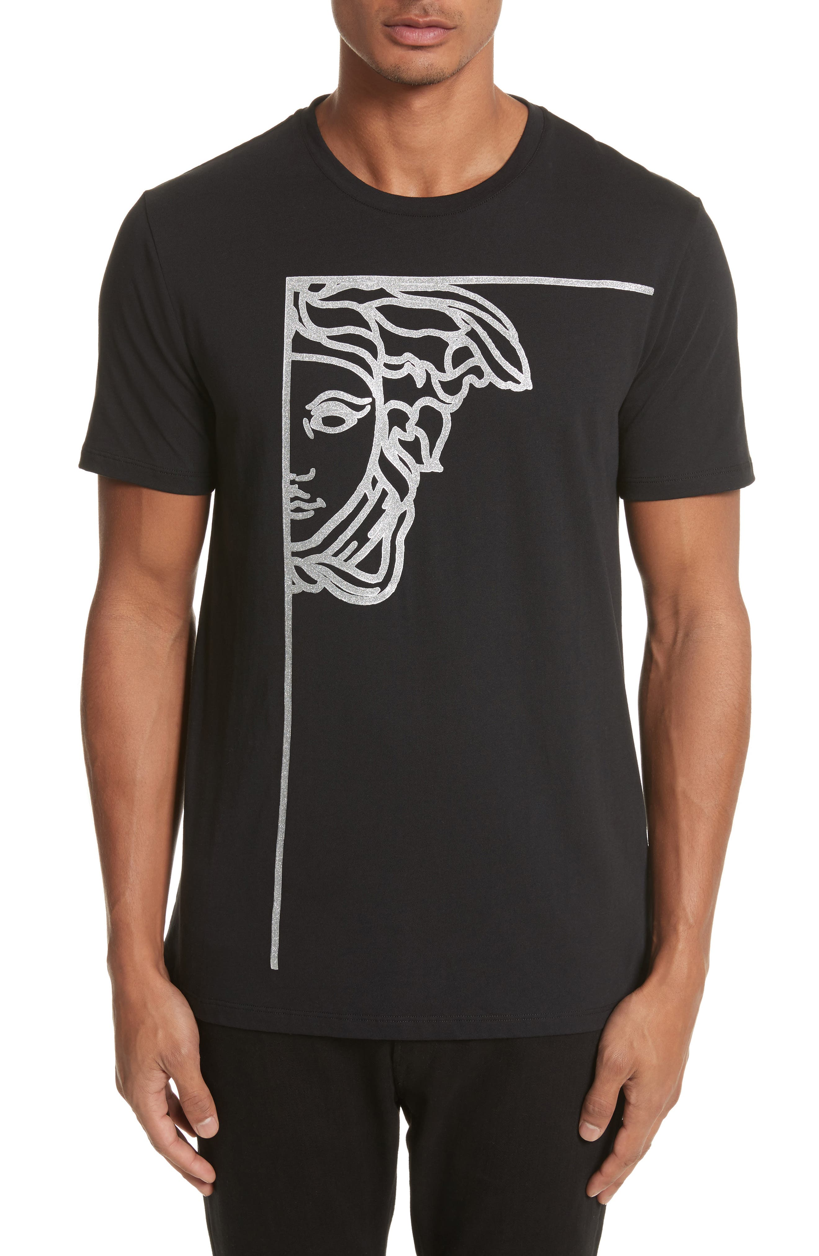 Glitter Stamp Medusa Graphic T-Shirt,                         Main,                         color, V1008 Black