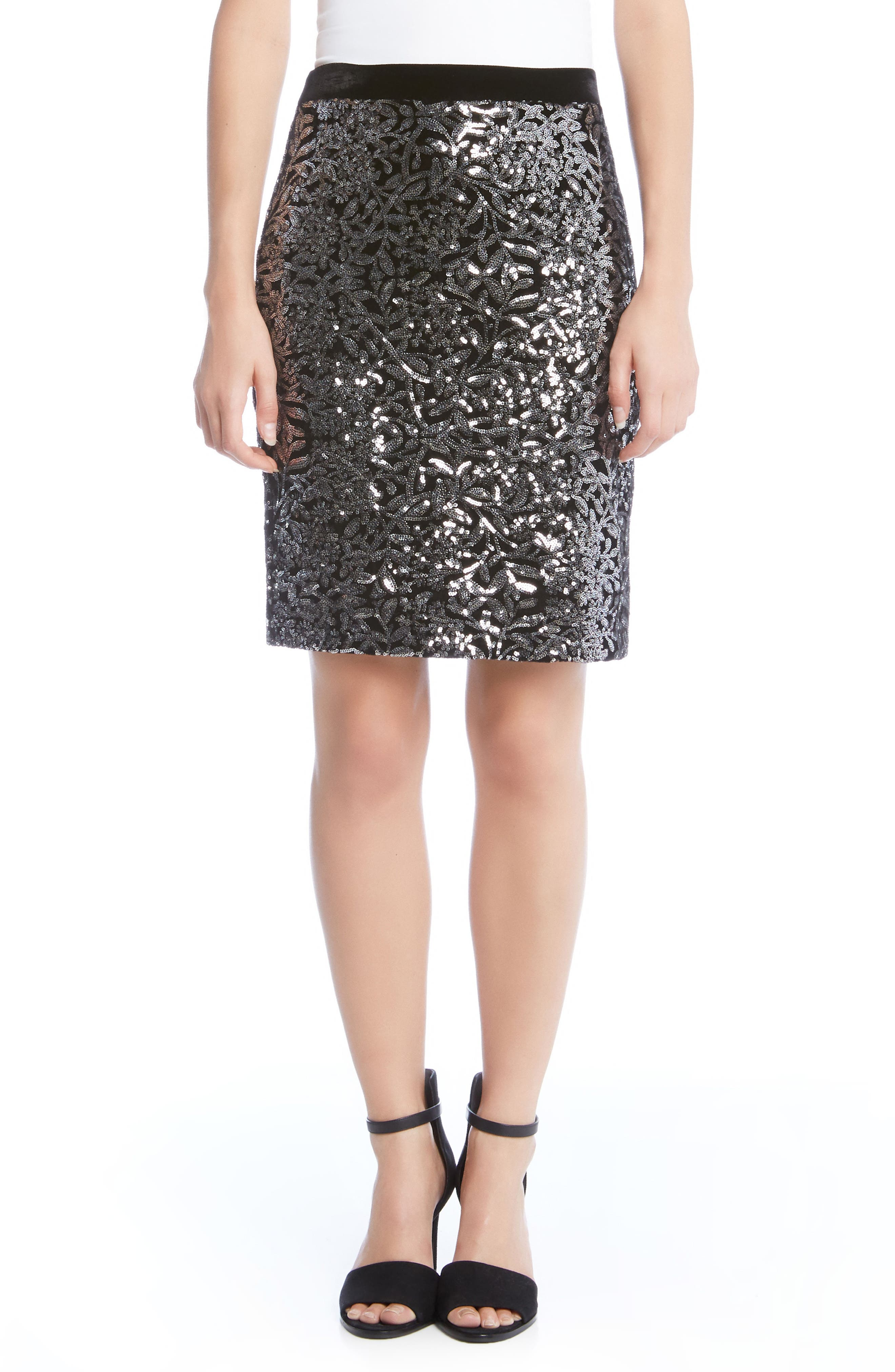 Alternate Image 1 Selected - Karen Kane Sequin Skirt