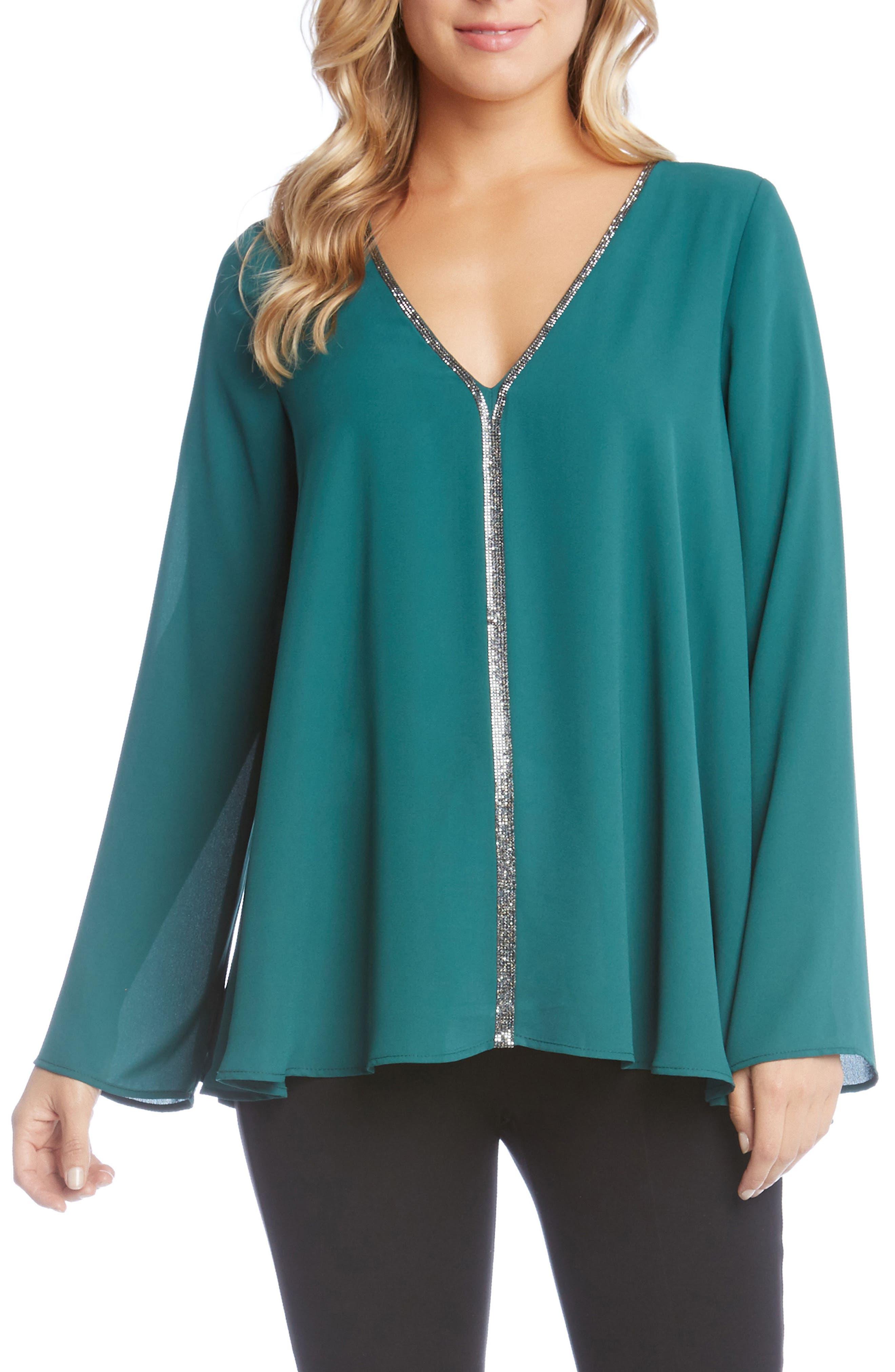 V-Neck Sparkle Blouse,                         Main,                         color, Emerald