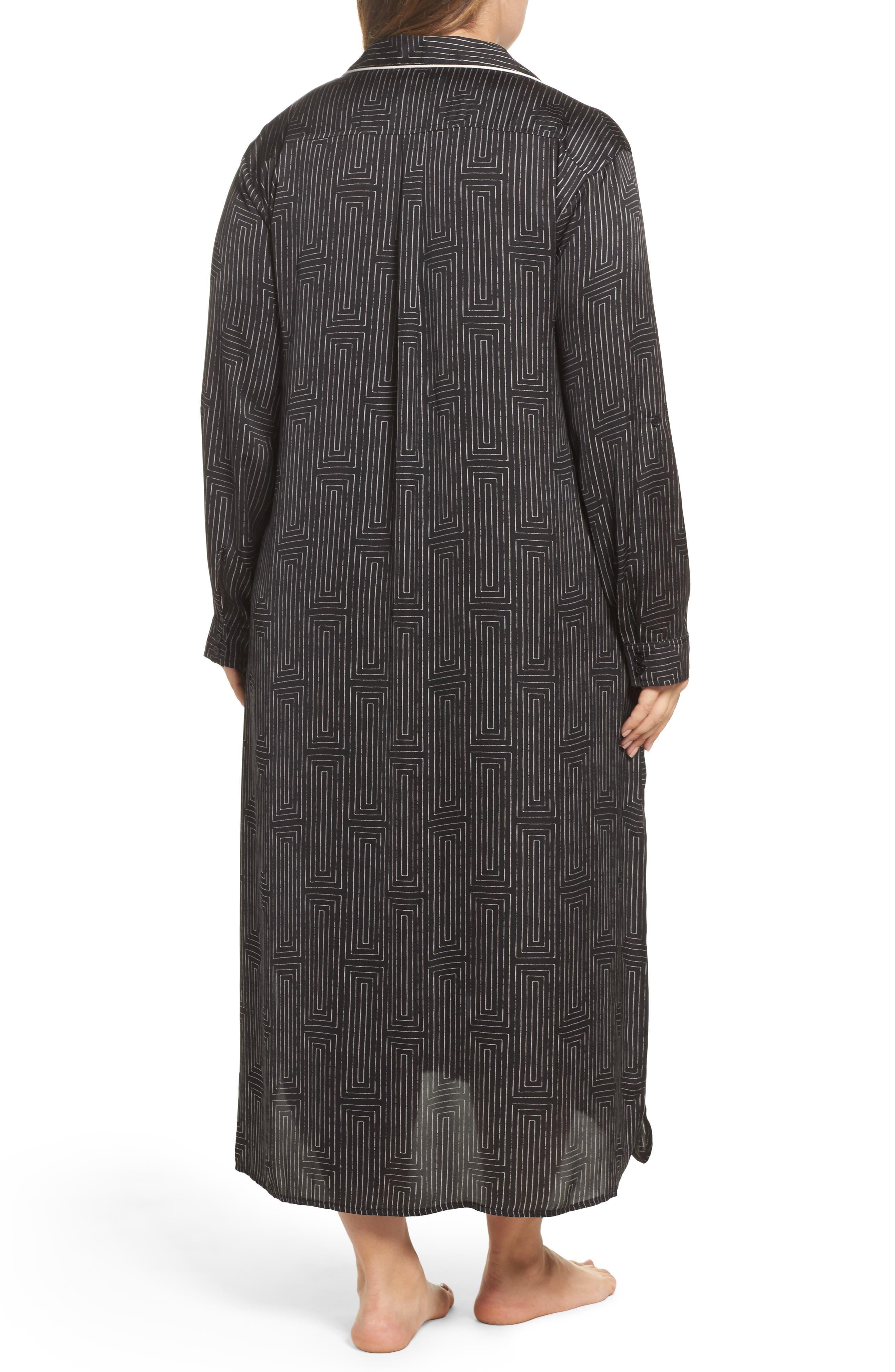 Alternate Image 2  - DKNY Washed Satin Maxi Sleep Shirt (Plus Size)