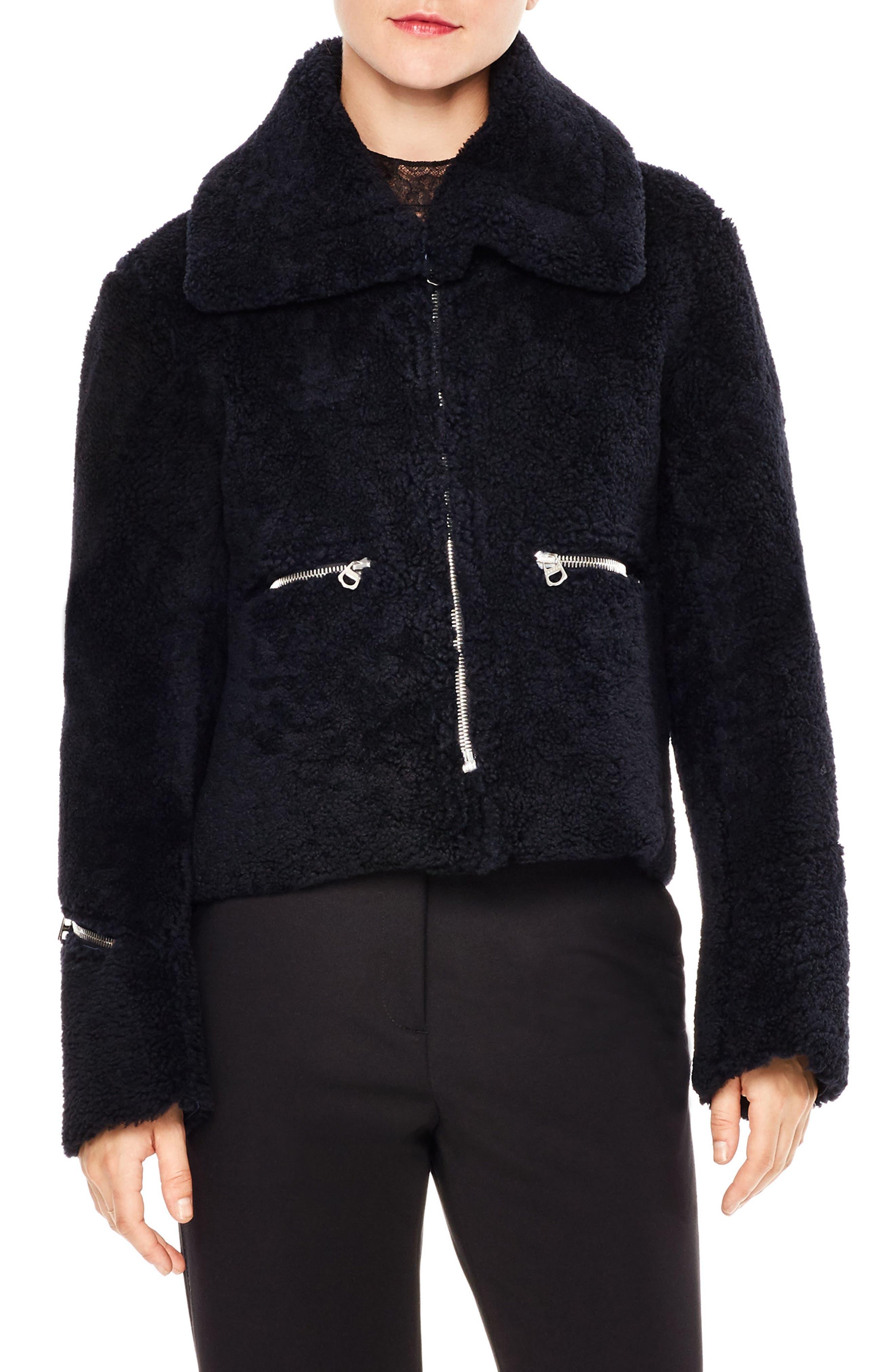 sandro Genuine Lamb Shearling Jacket