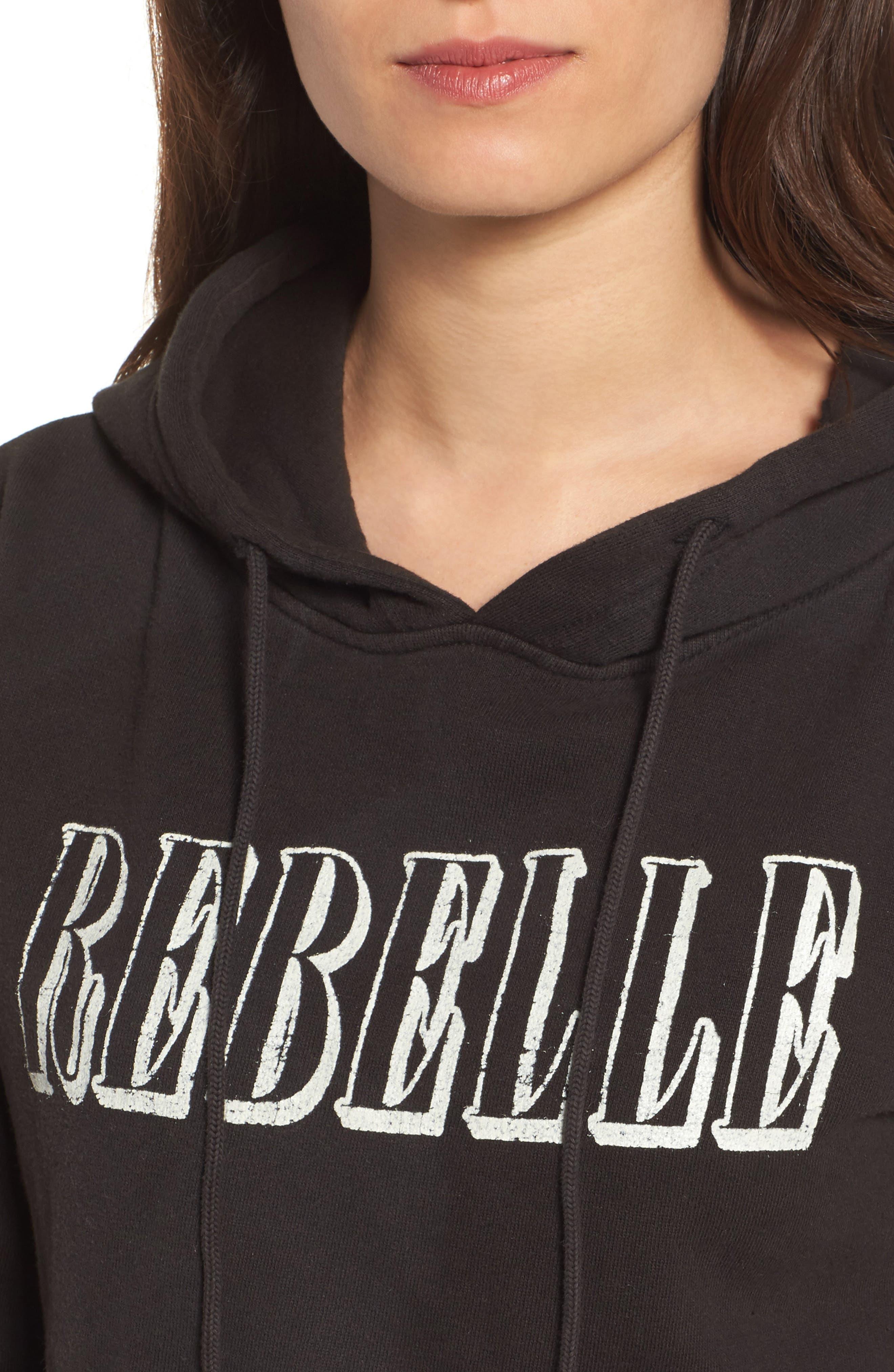 Rebelle Crop Hoodie,                             Alternate thumbnail 4, color,                             Black
