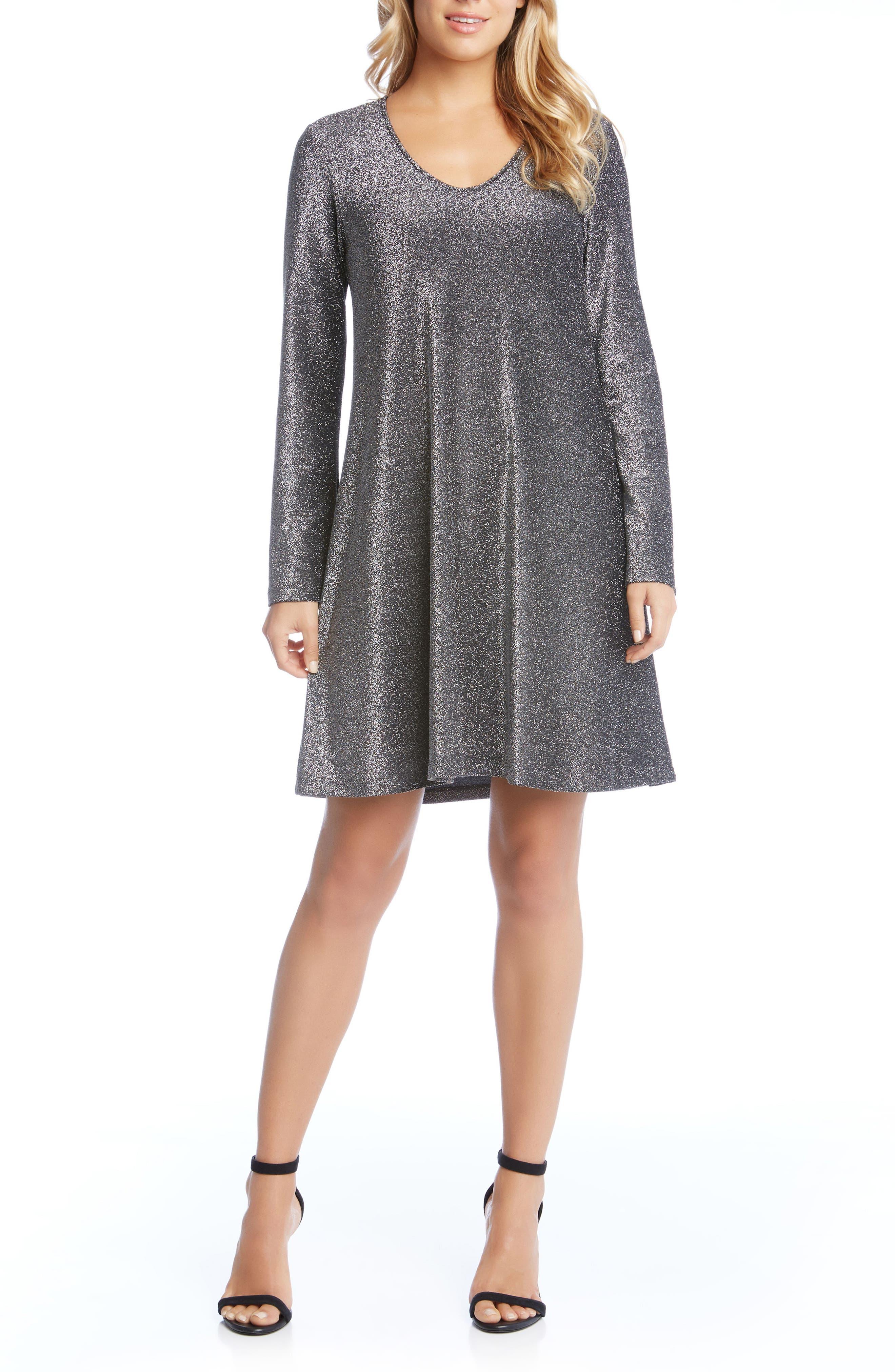 Taylor Sparkle A-Line Dress,                         Main,                         color, Black W/ Silver