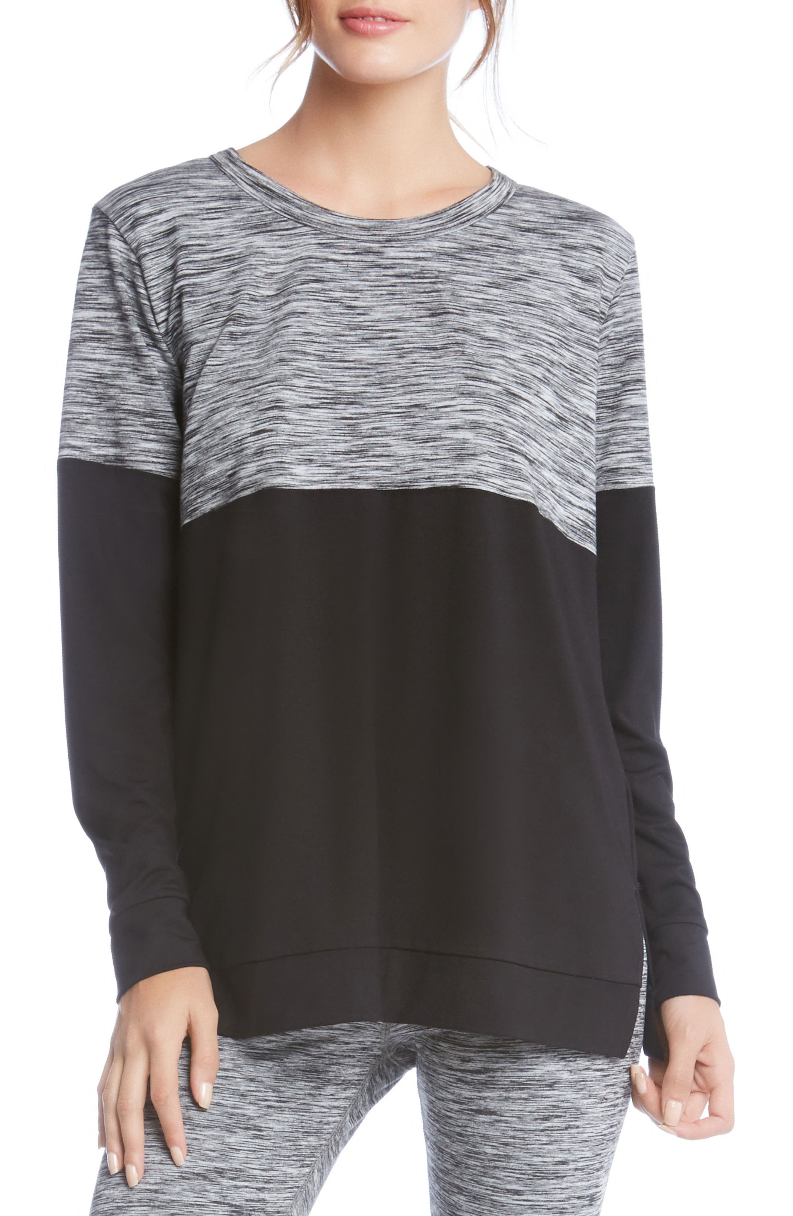 Long Sleeve Contrast Top,                             Main thumbnail 1, color,                             Print