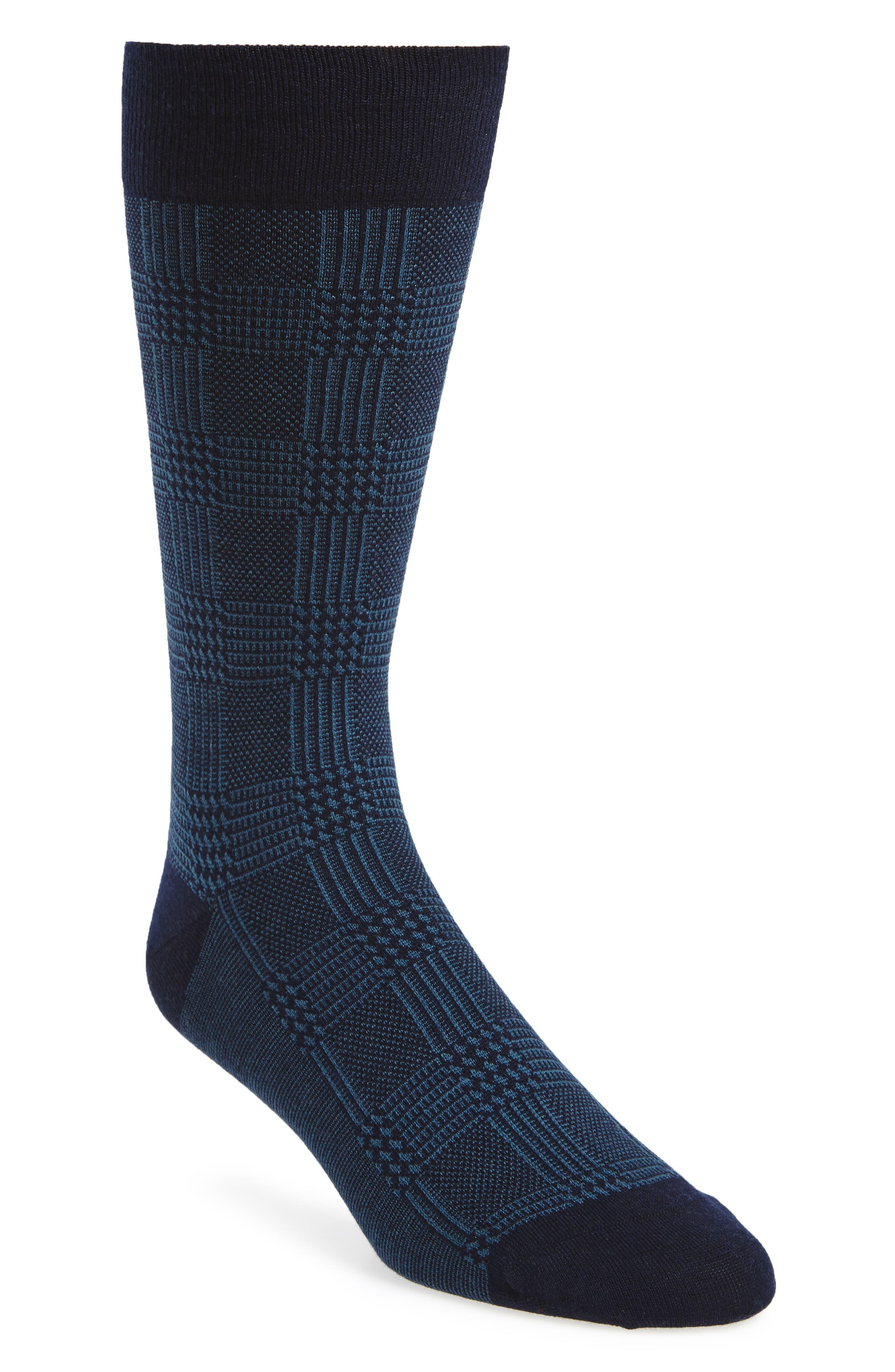Plaid Wool Blend Socks,                         Main,                         color, Navy