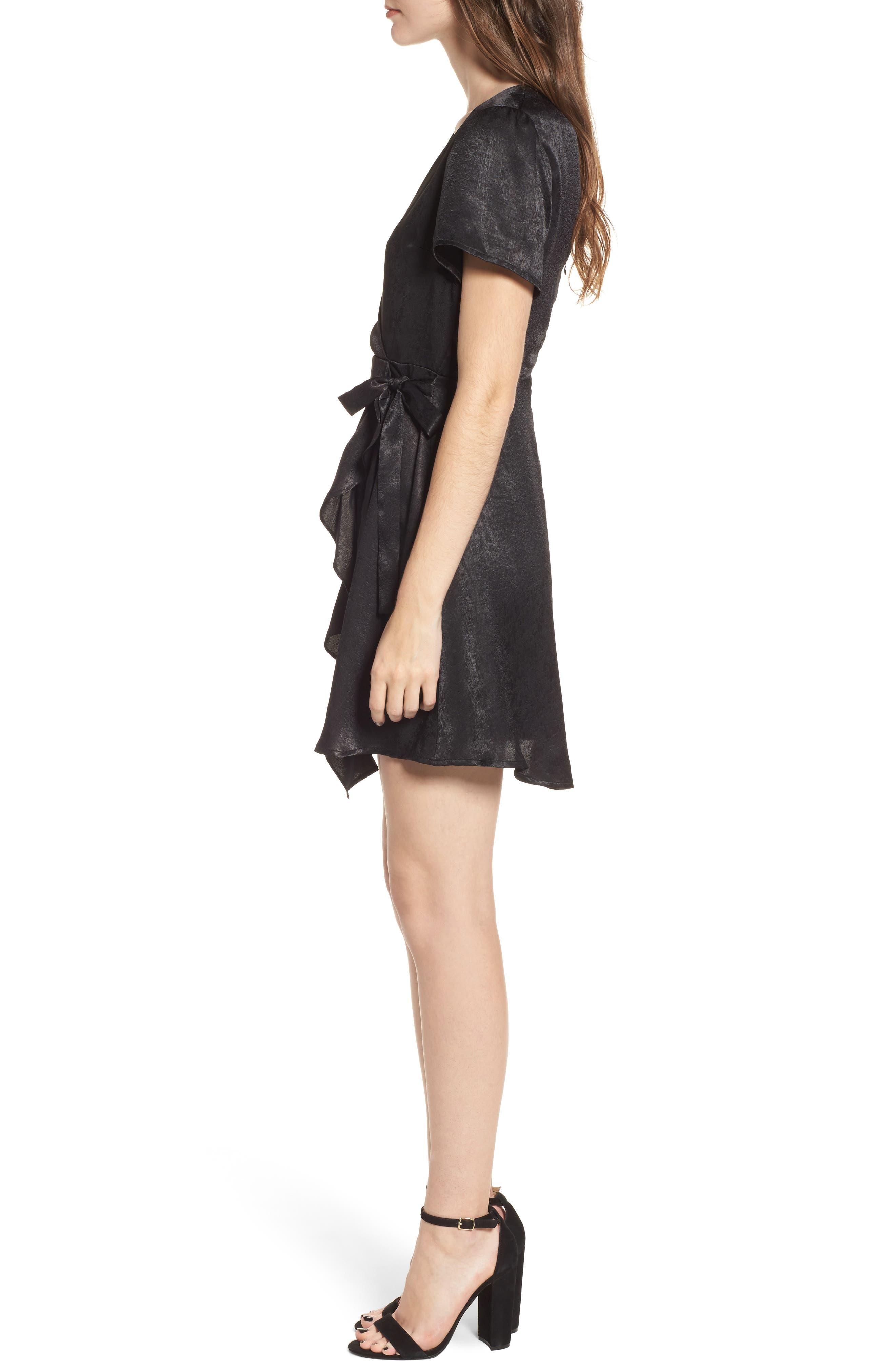 Satin Faux Wrap Dress,                             Alternate thumbnail 3, color,                             Black