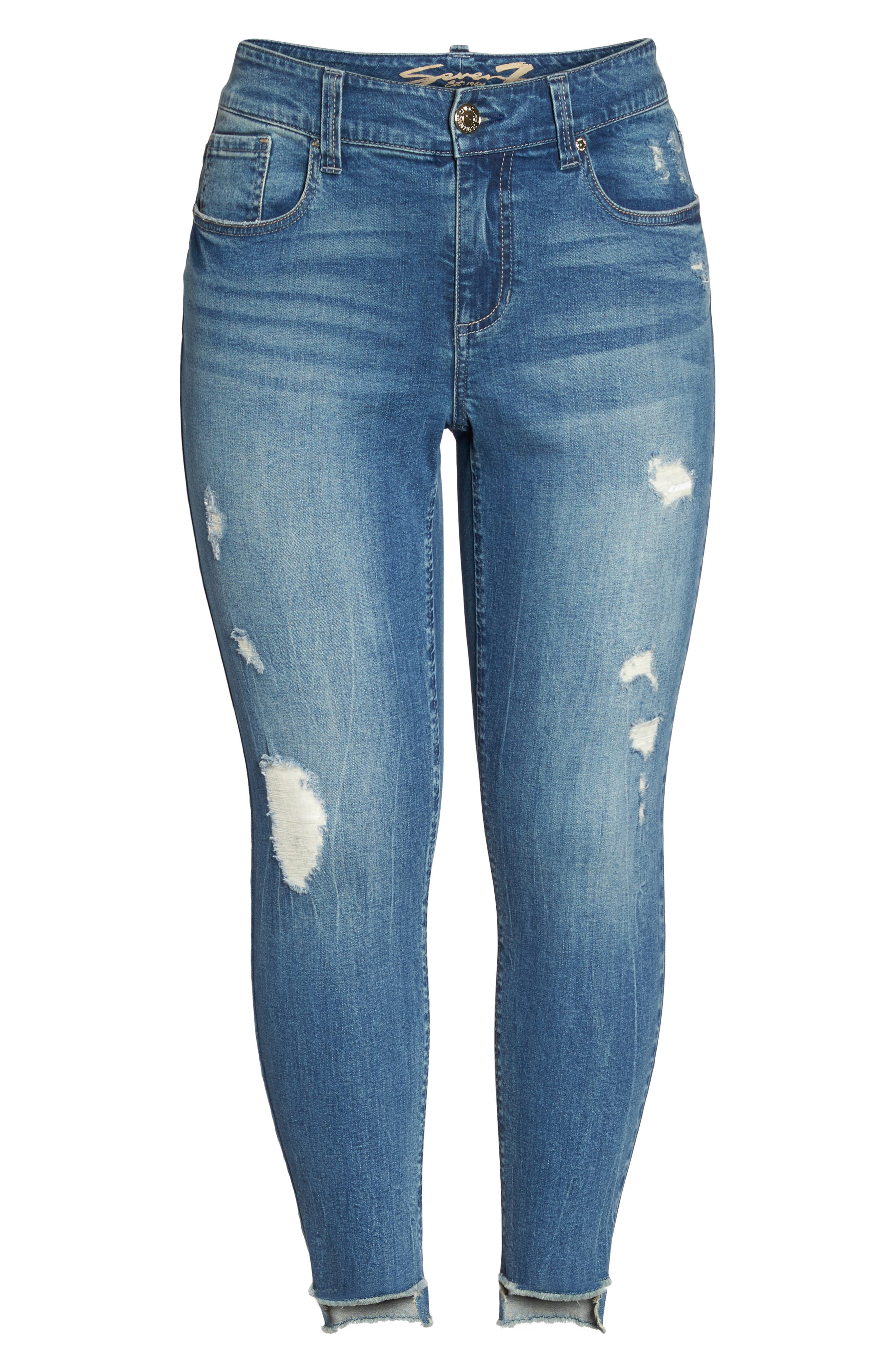Alternate Image 6  - Seven7 High/Low Ankle Skinny Jeans (Molokai) (Plus Size)