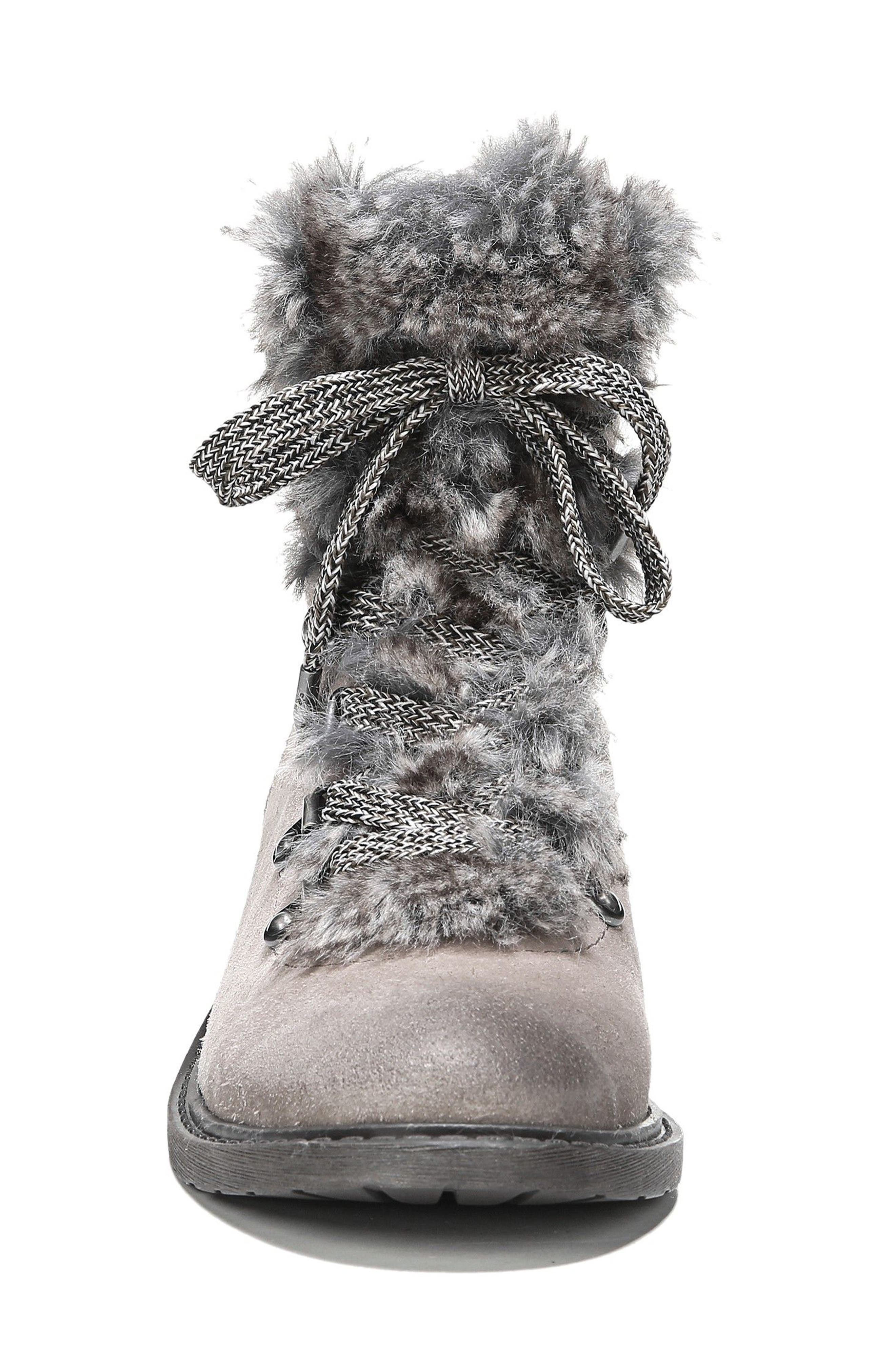 Darrah 2 Faux Fur Trim Boot,                             Alternate thumbnail 4, color,                             Grey Multi Suede
