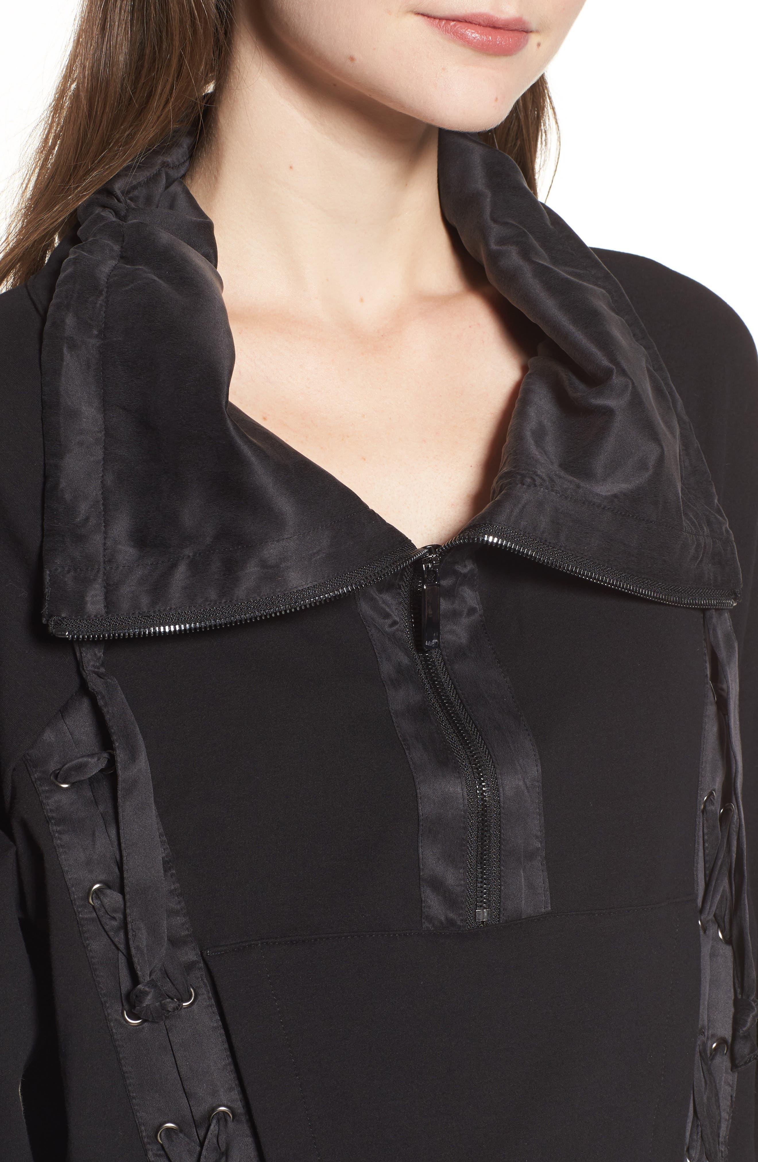 Lace-Up Sweatshirt,                             Alternate thumbnail 4, color,                             Black