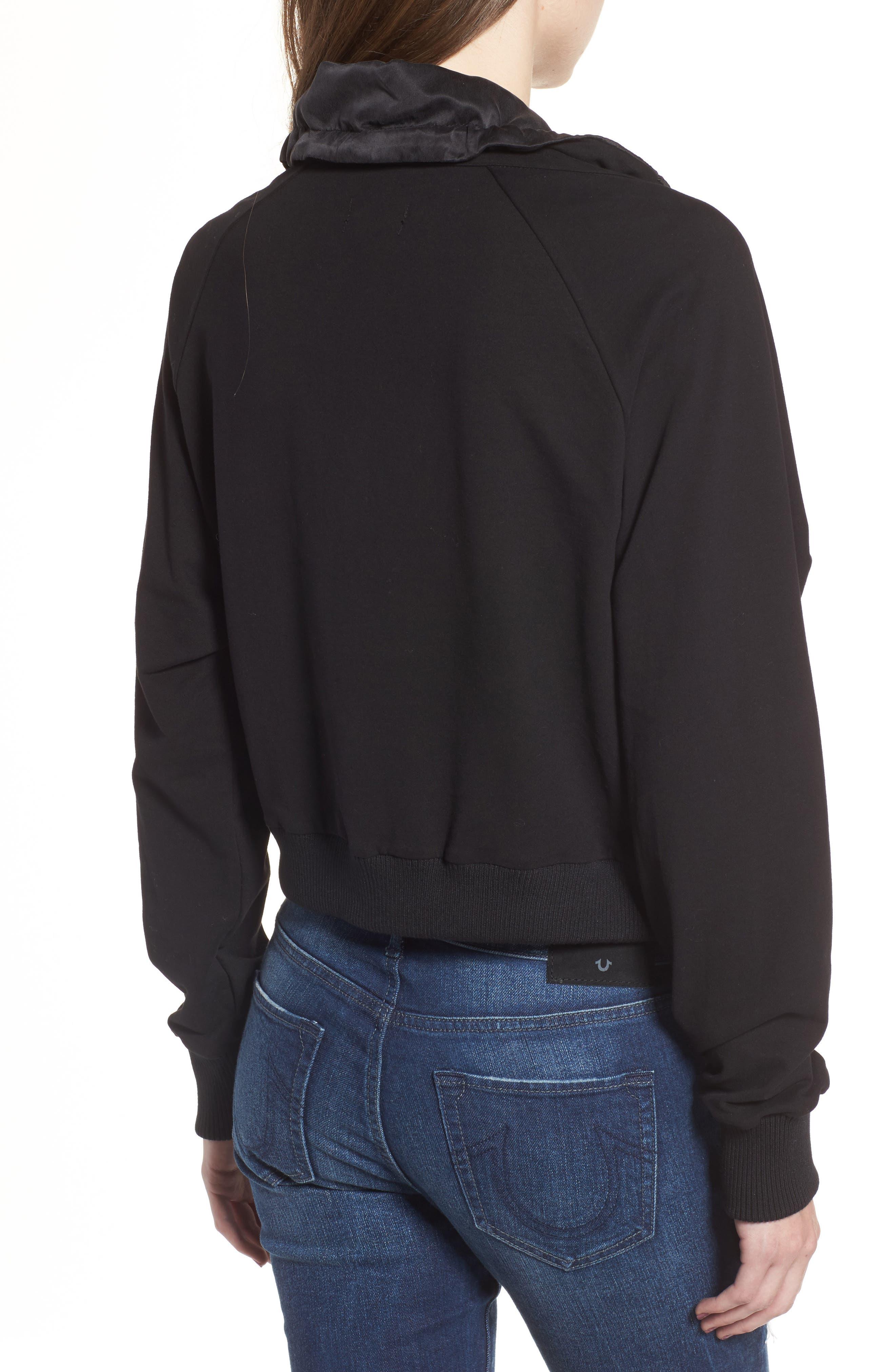 Lace-Up Sweatshirt,                             Alternate thumbnail 2, color,                             Black