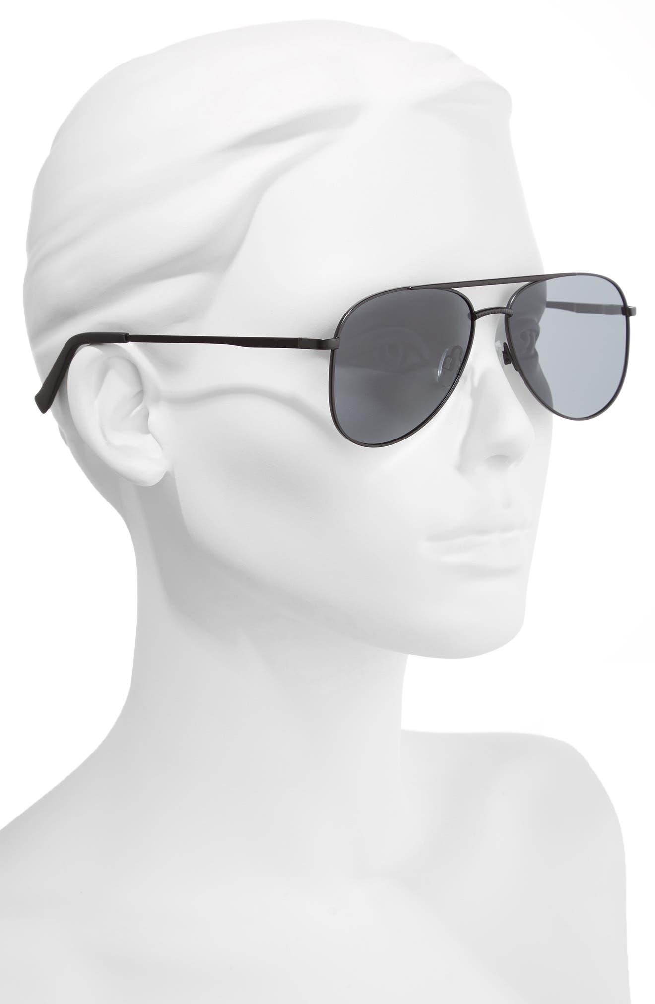 Kingdom 57mm Polarized Aviator Sunglasses,                             Alternate thumbnail 2, color,                             Matte Black