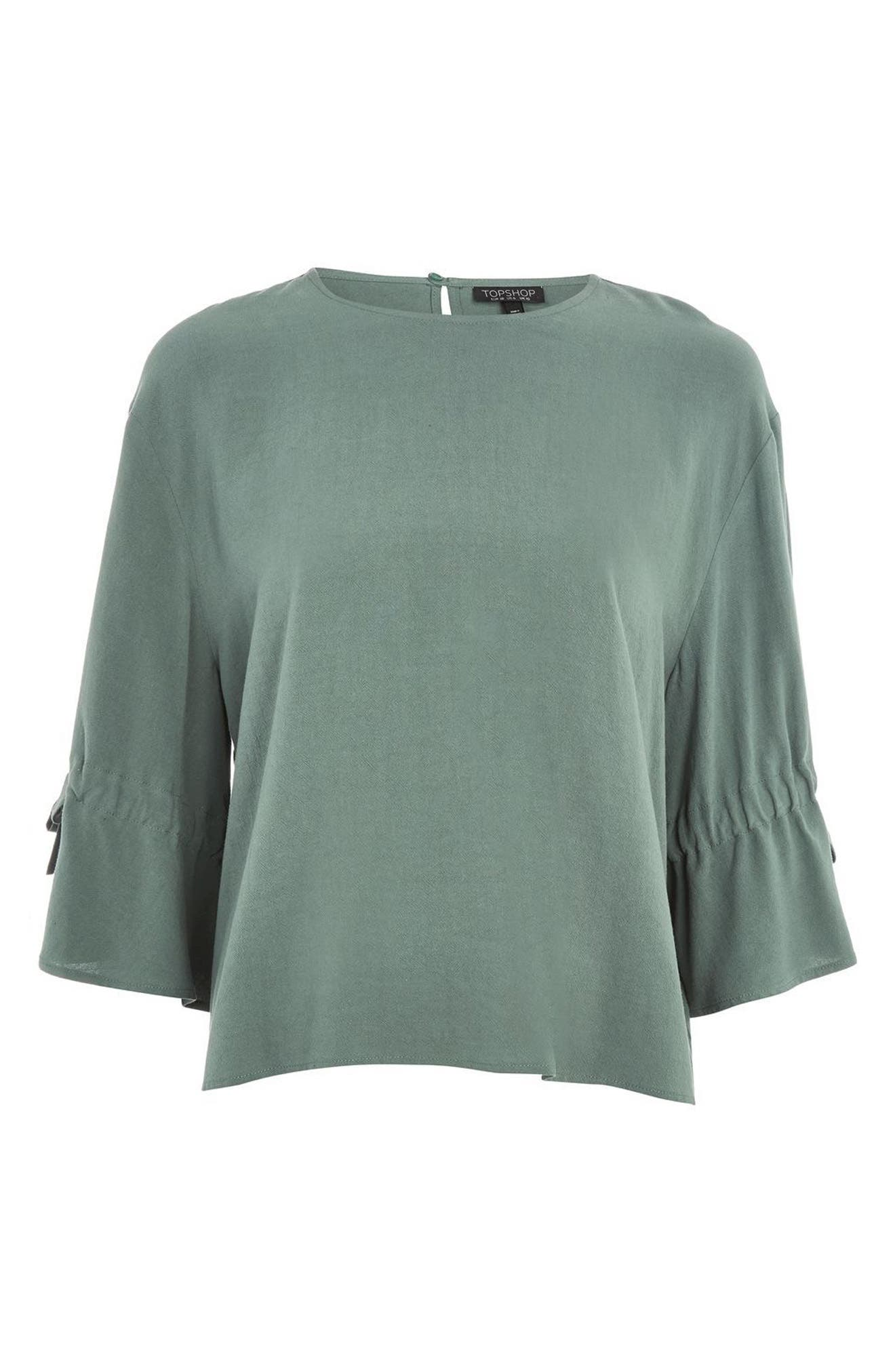 Molly Tie Sleeve Blouse,                             Alternate thumbnail 4, color,                             Petrol
