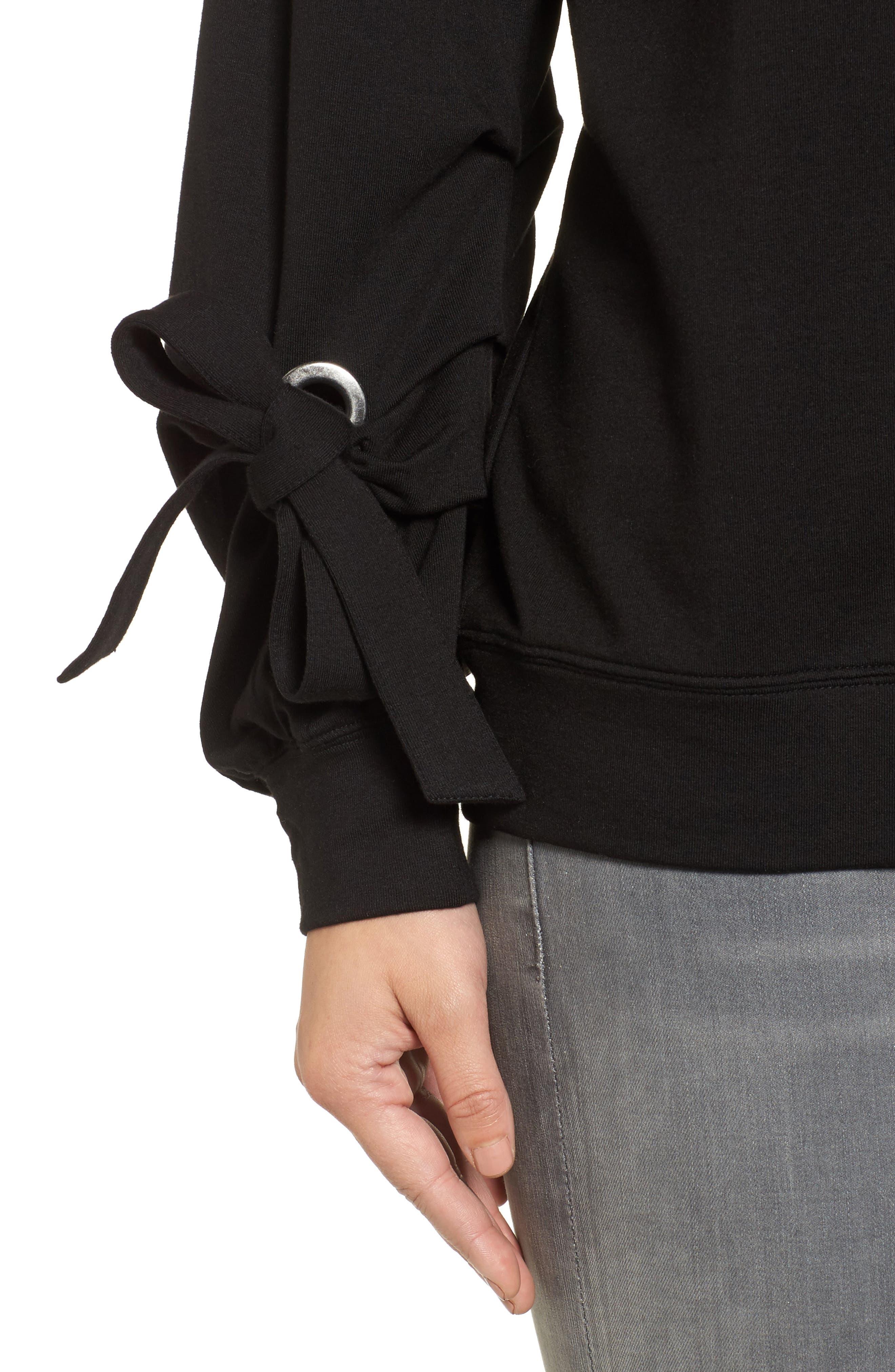 Grommet Tie Sleeve Sweatshirt,                             Alternate thumbnail 4, color,                             Black