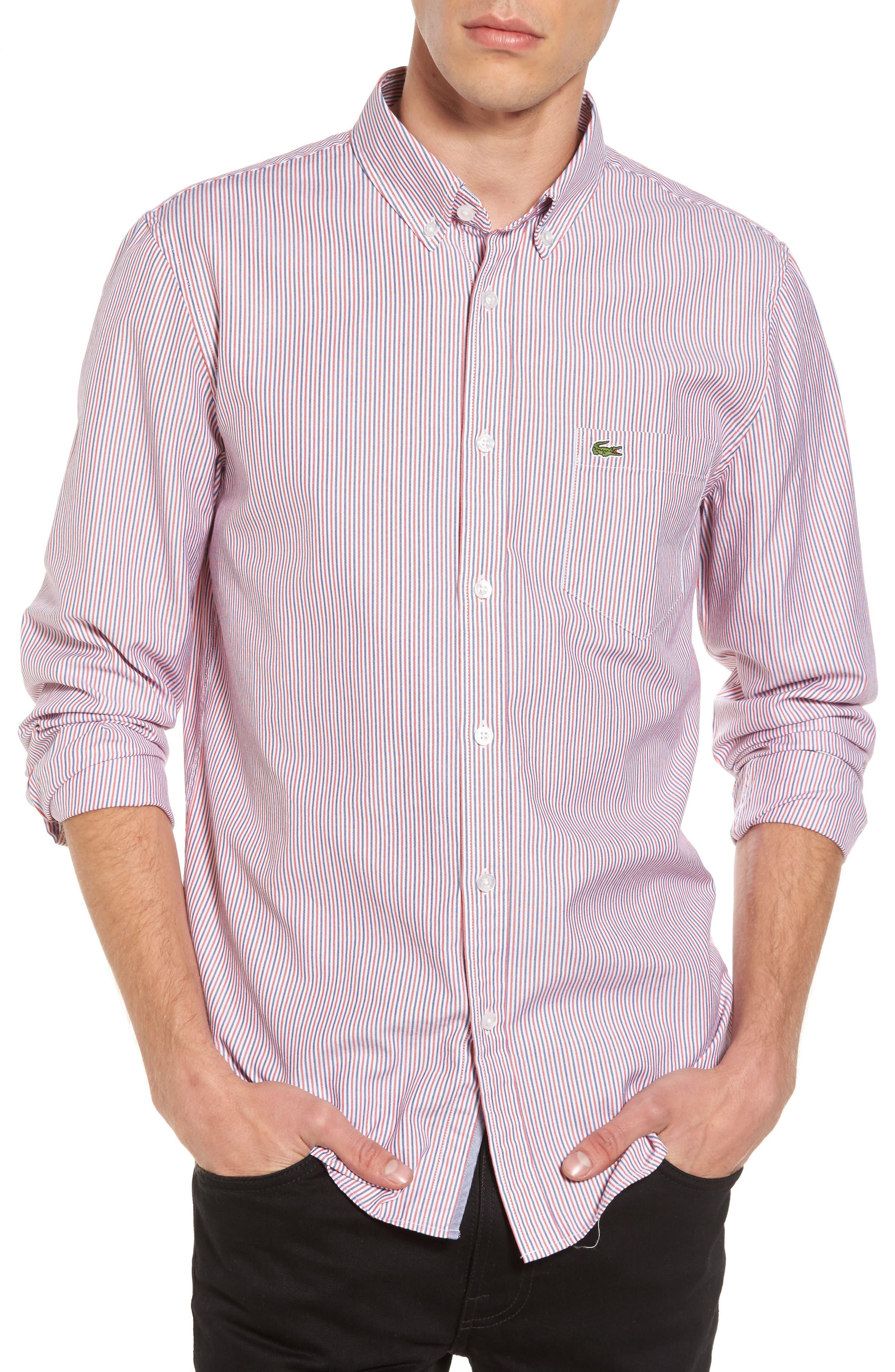 Button-Down Sport Shirt,                             Main thumbnail 1, color,                             Cherry Red/ Methylene-White