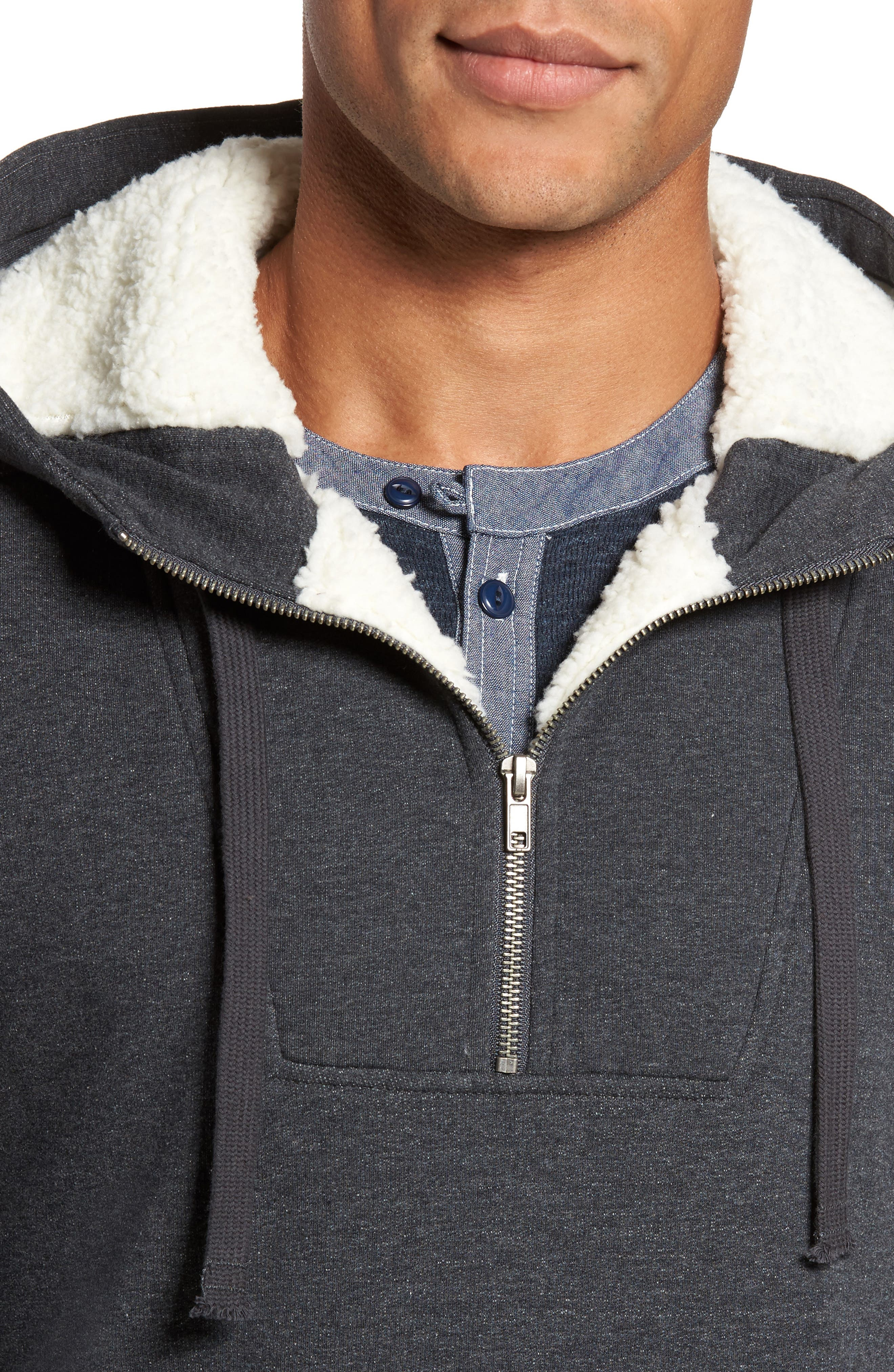 Fleece Lined Hoodie,                             Alternate thumbnail 4, color,                             Charcoal