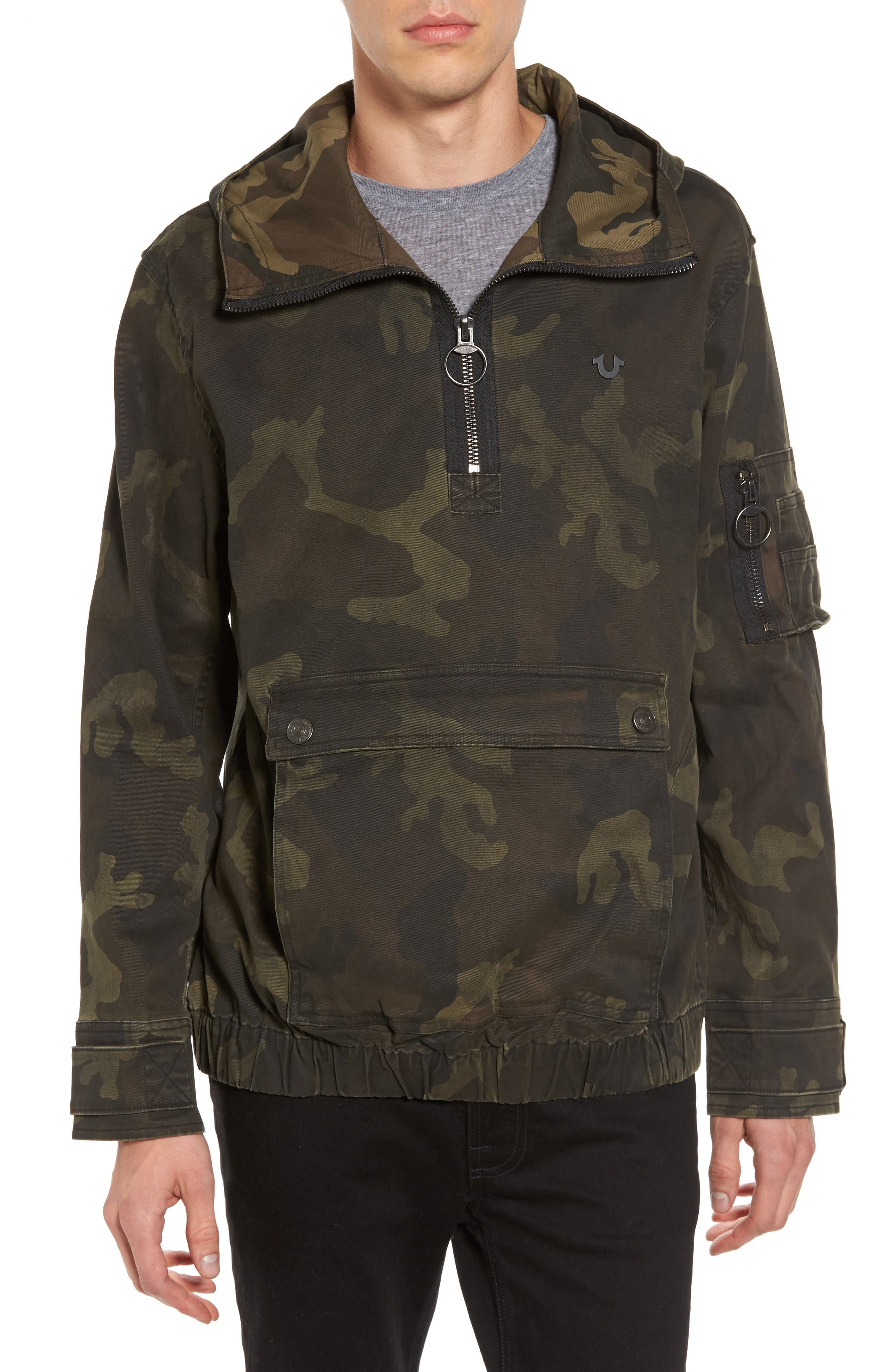Camo Anorak,                             Main thumbnail 1, color,                             Military Green Camo