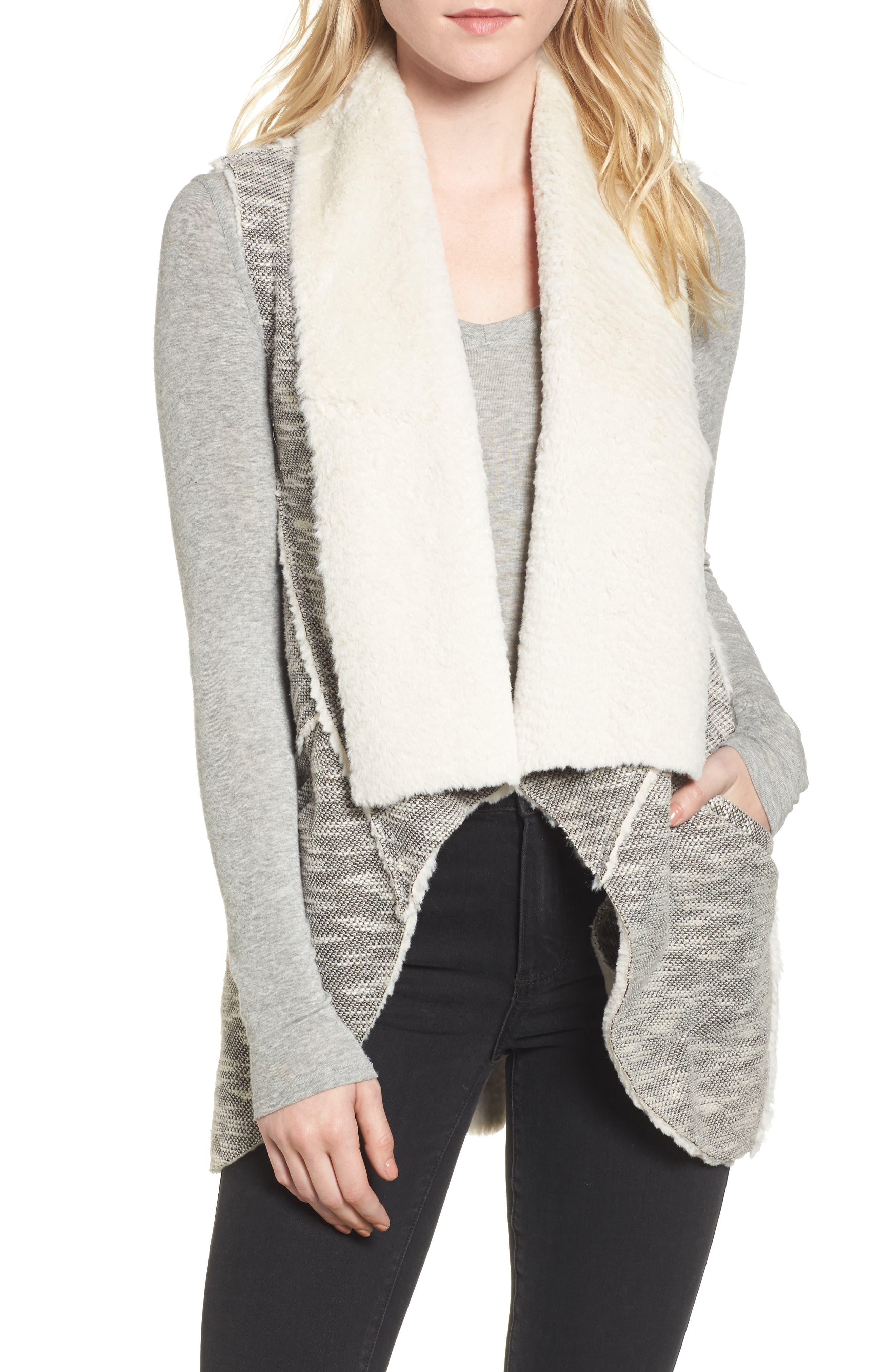 Faux Shearling Vest,                             Main thumbnail 1, color,                             Black/ White