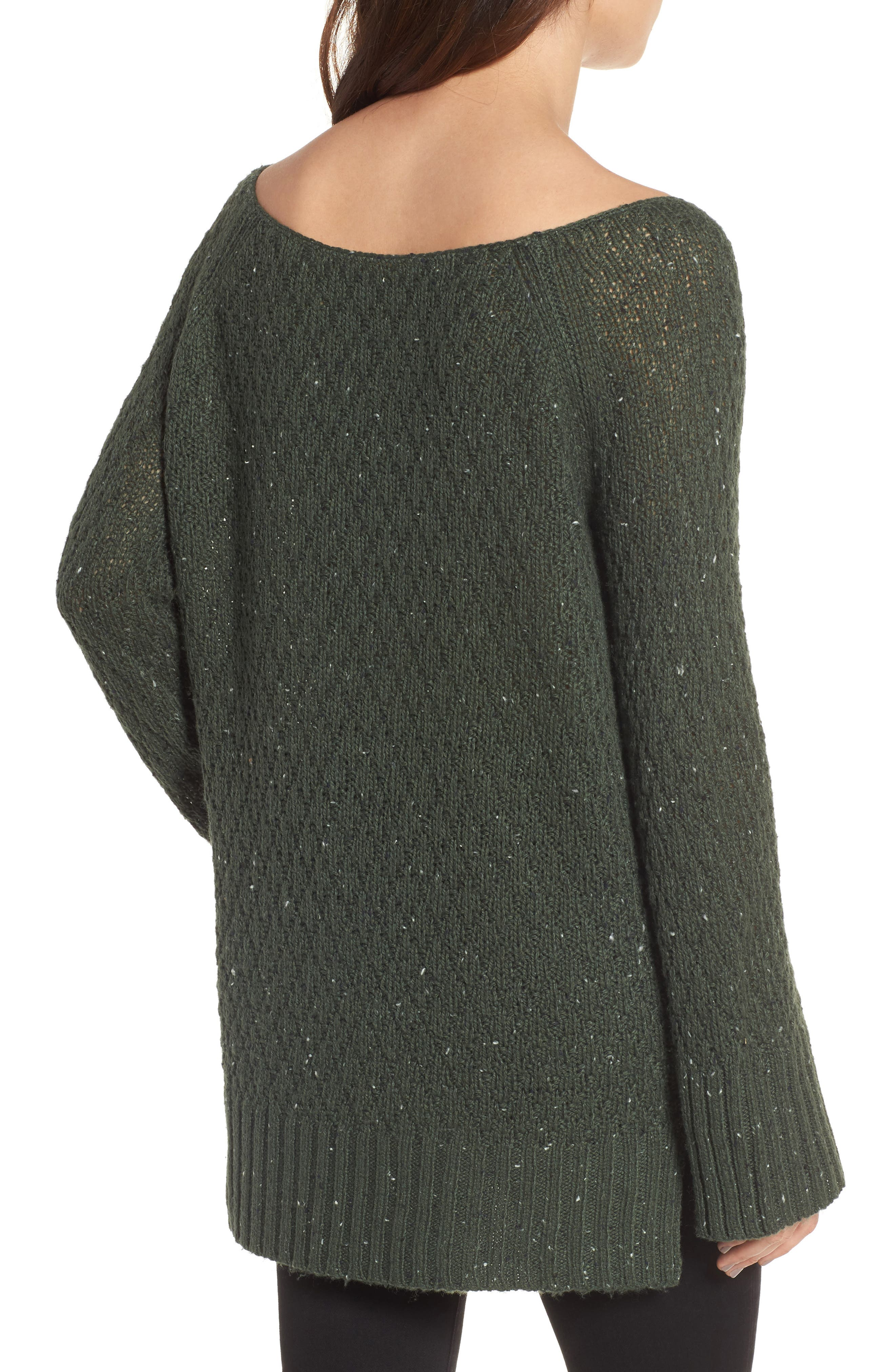 Slouchy Tunic Sweater,                             Alternate thumbnail 2, color,                             Green Wood