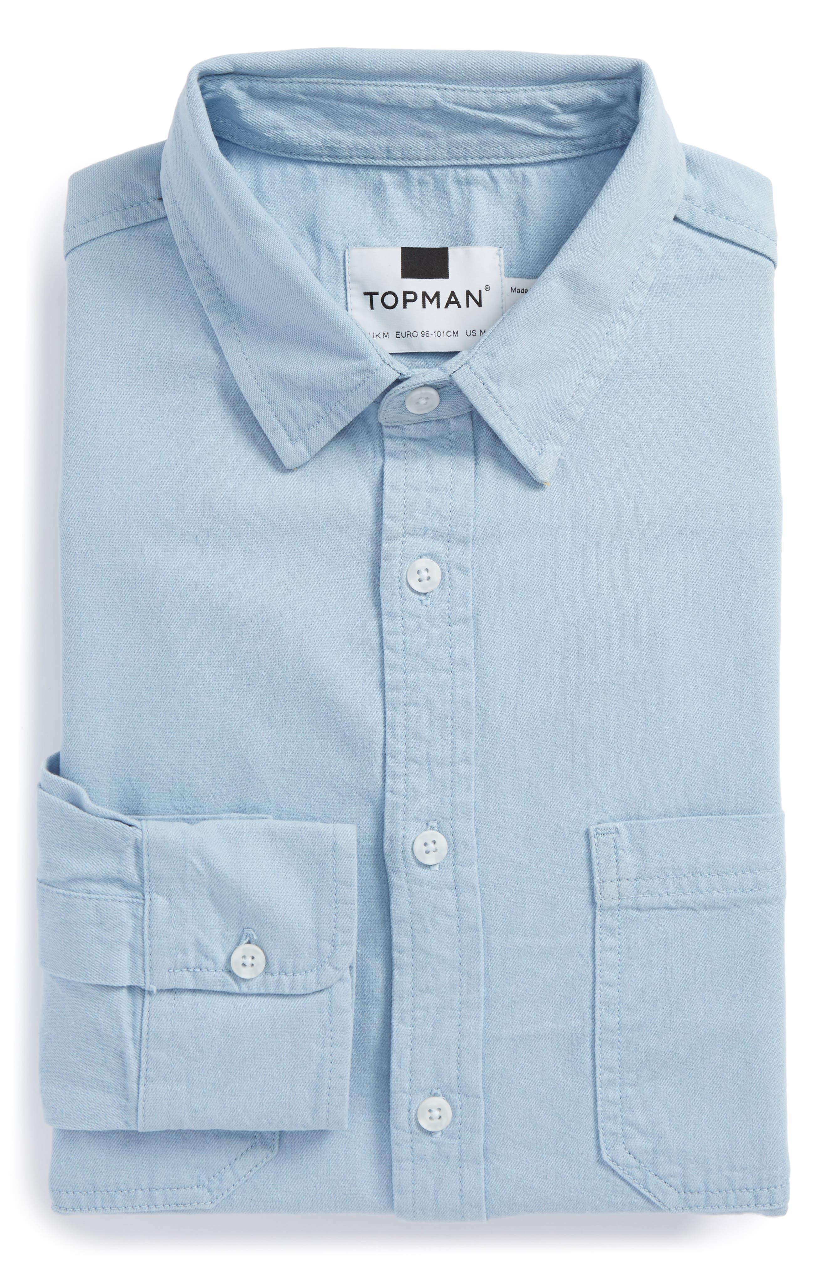 Main Image - Topman Washed Twill Shirt