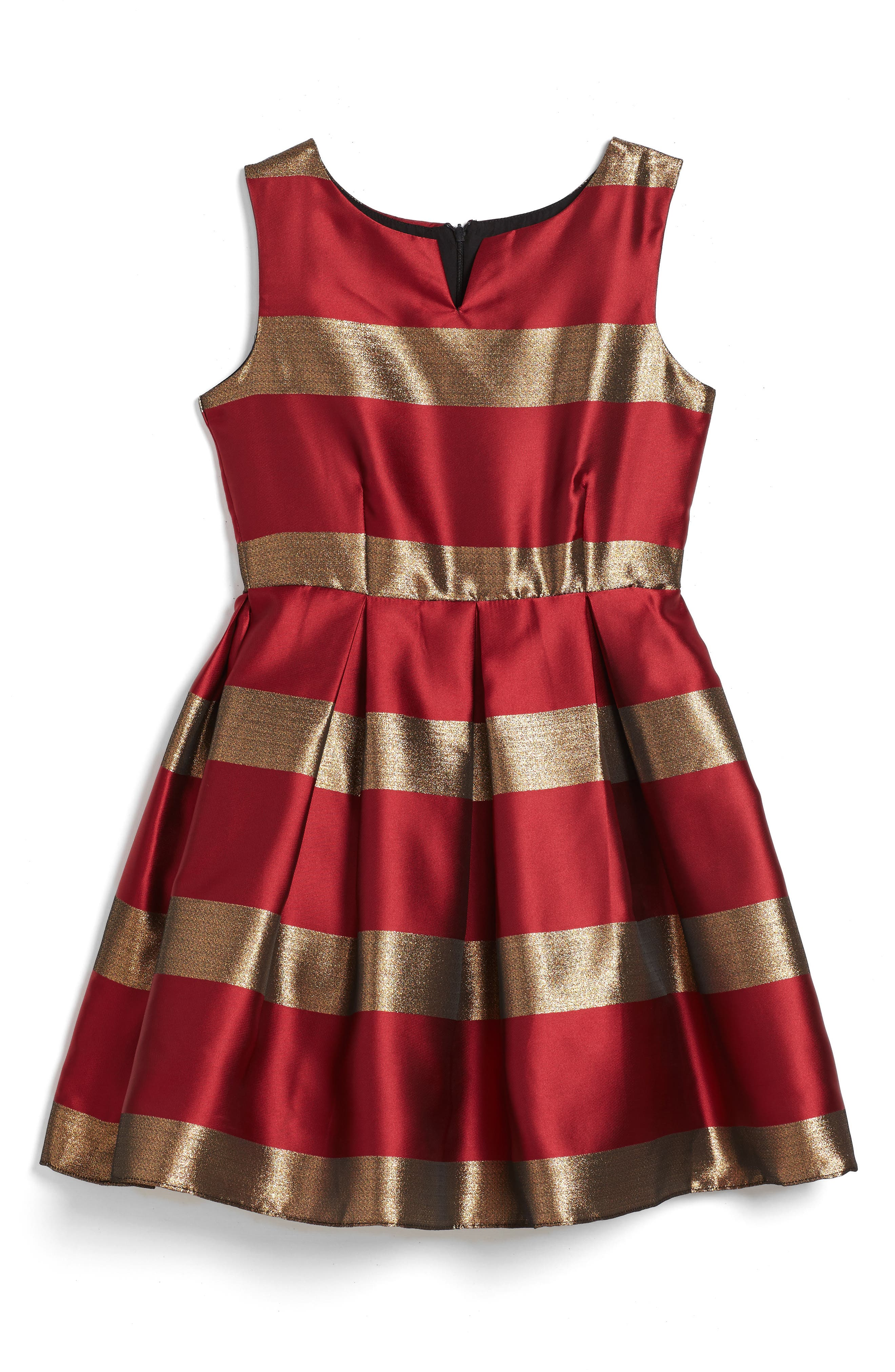 Stripe Fit & Flare Dress,                             Main thumbnail 1, color,                             Red/ Gold