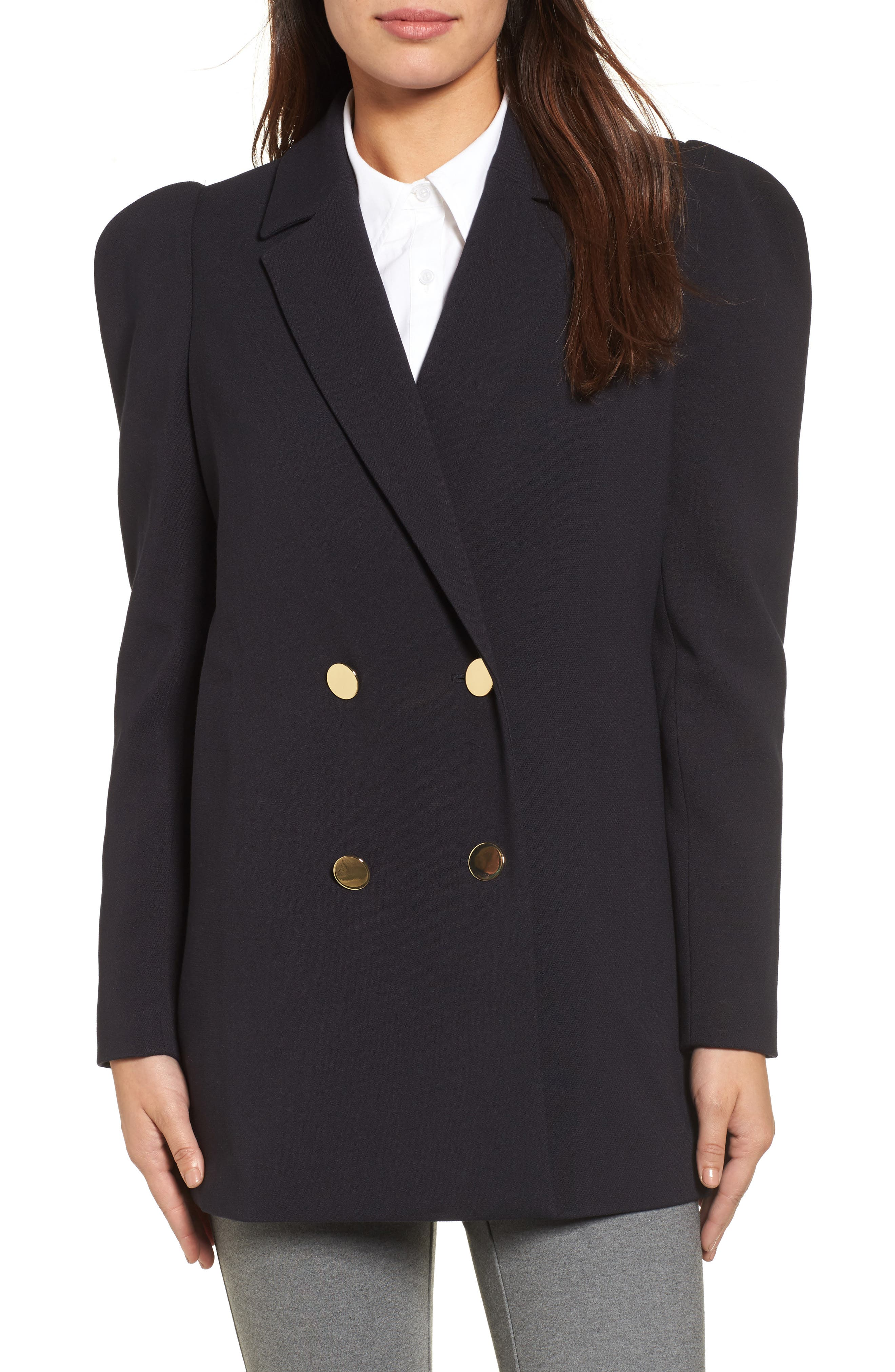 Double Breasted Blazer,                             Main thumbnail 1, color,                             Navy