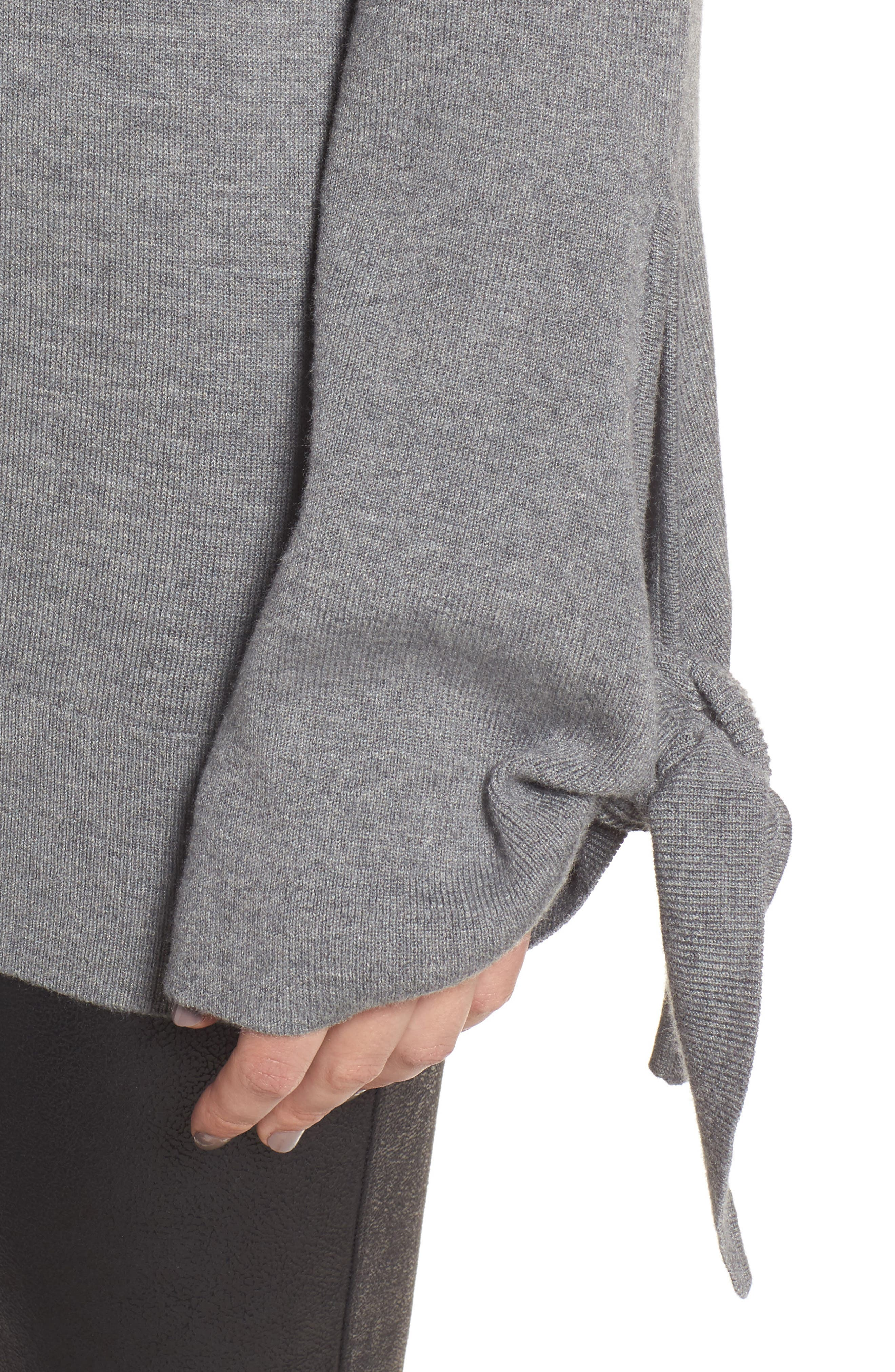 Tie Sleeve Sweater,                             Alternate thumbnail 4, color,                             Grey Dark Heather