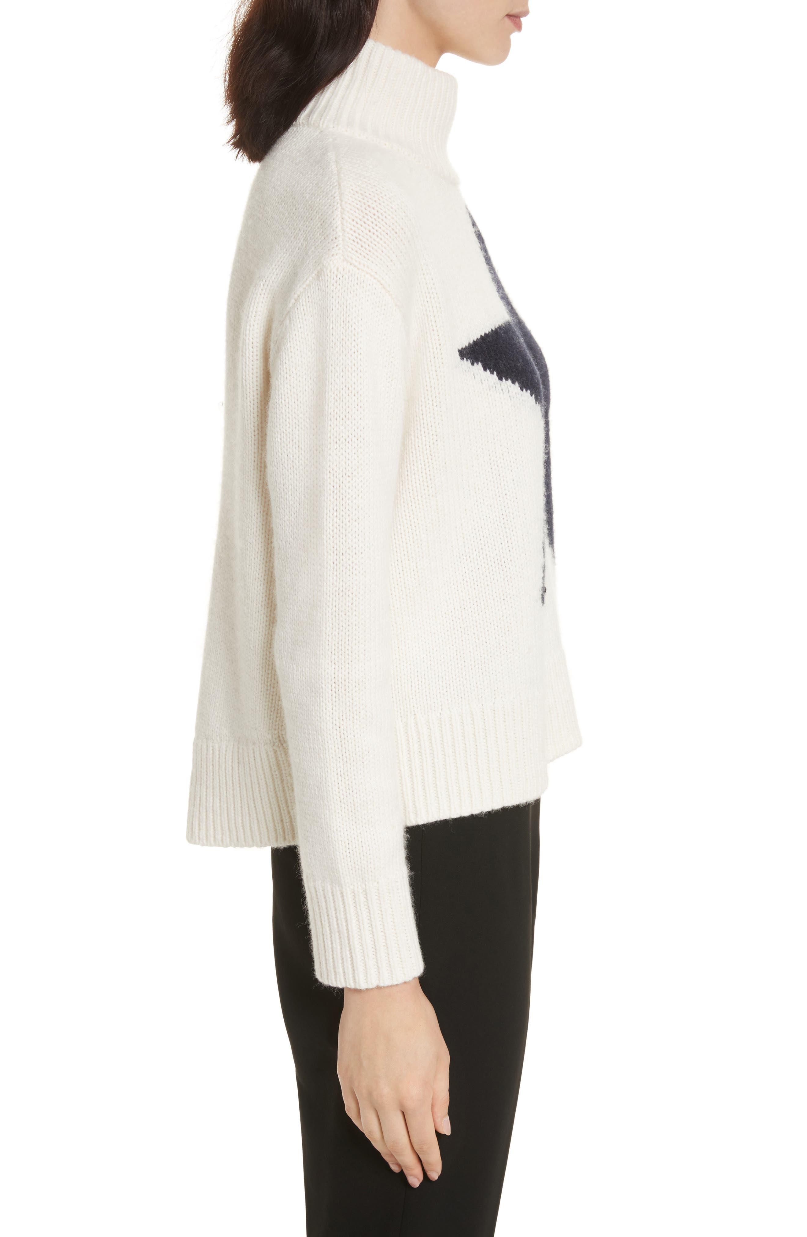 star turtleneck sweater,                             Alternate thumbnail 5, color,                             Cream/ Navy