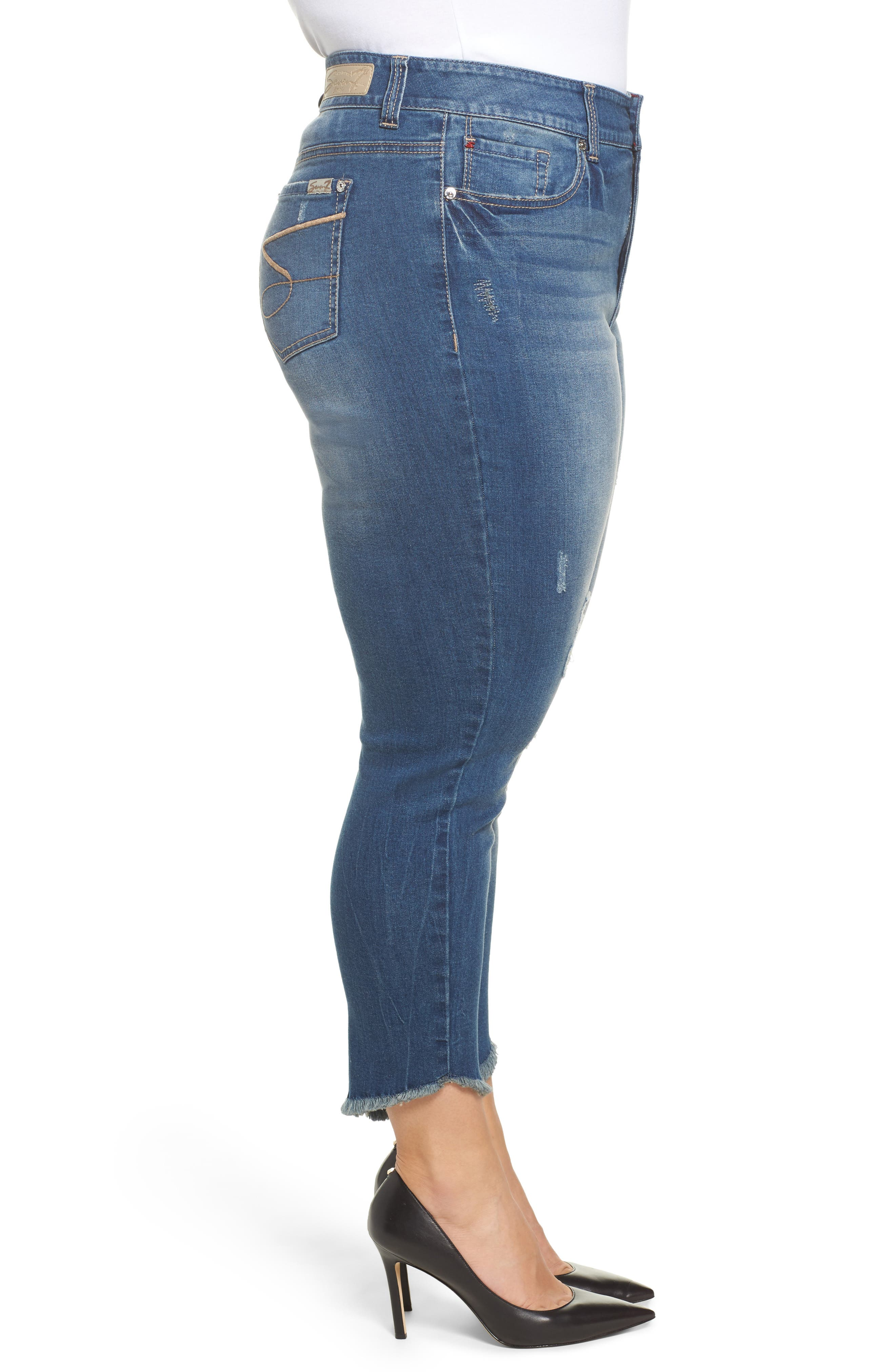 Alternate Image 3  - Seven7 Frayed Hem Skinny Jeans (Plus Size)
