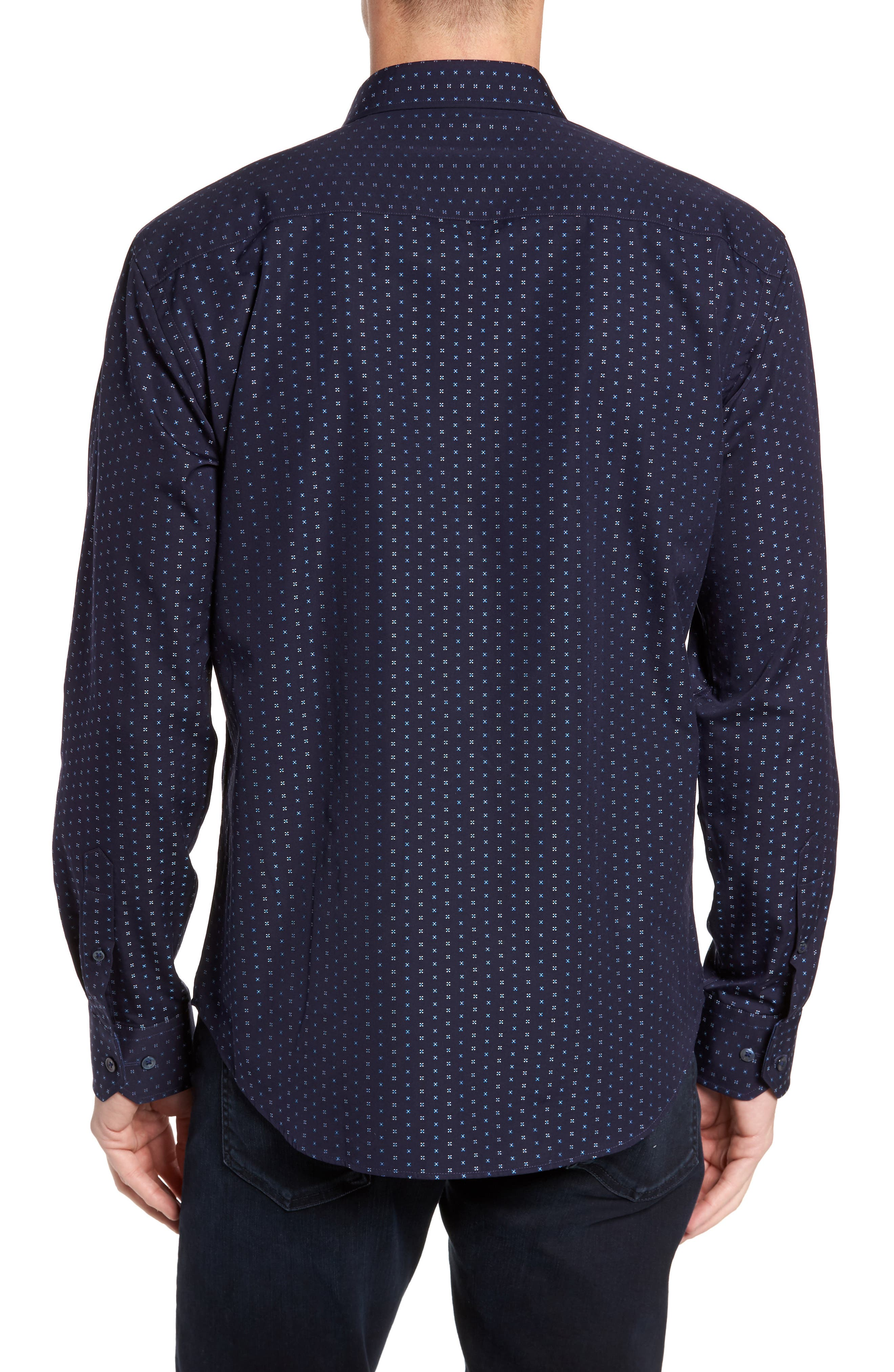 Shaped Fit Print Sport Shirt,                             Alternate thumbnail 2, color,                             Midnight