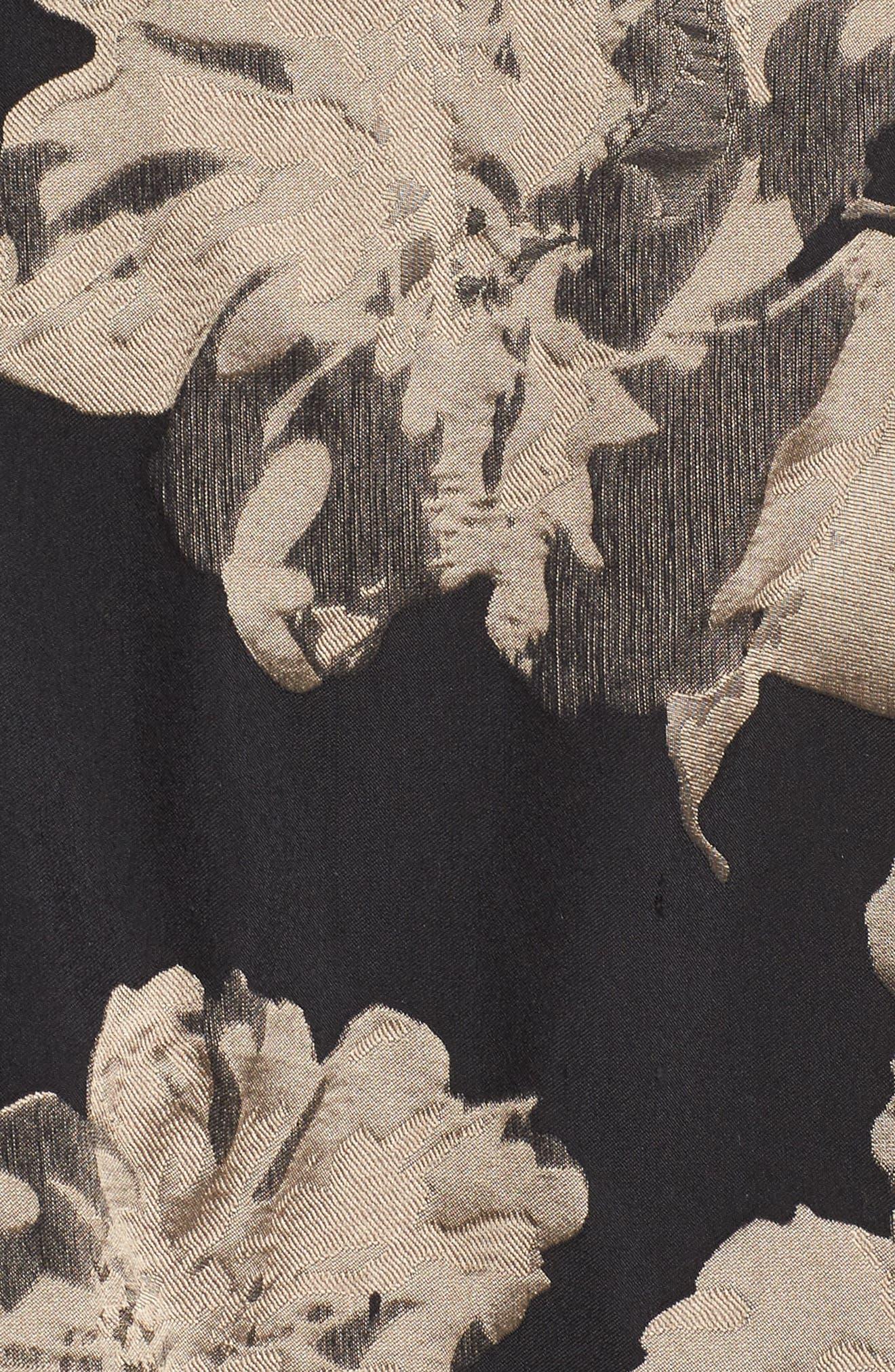 Mesh Waist High/Low Brocade Dress,                             Alternate thumbnail 5, color,                             Black/ Champagne