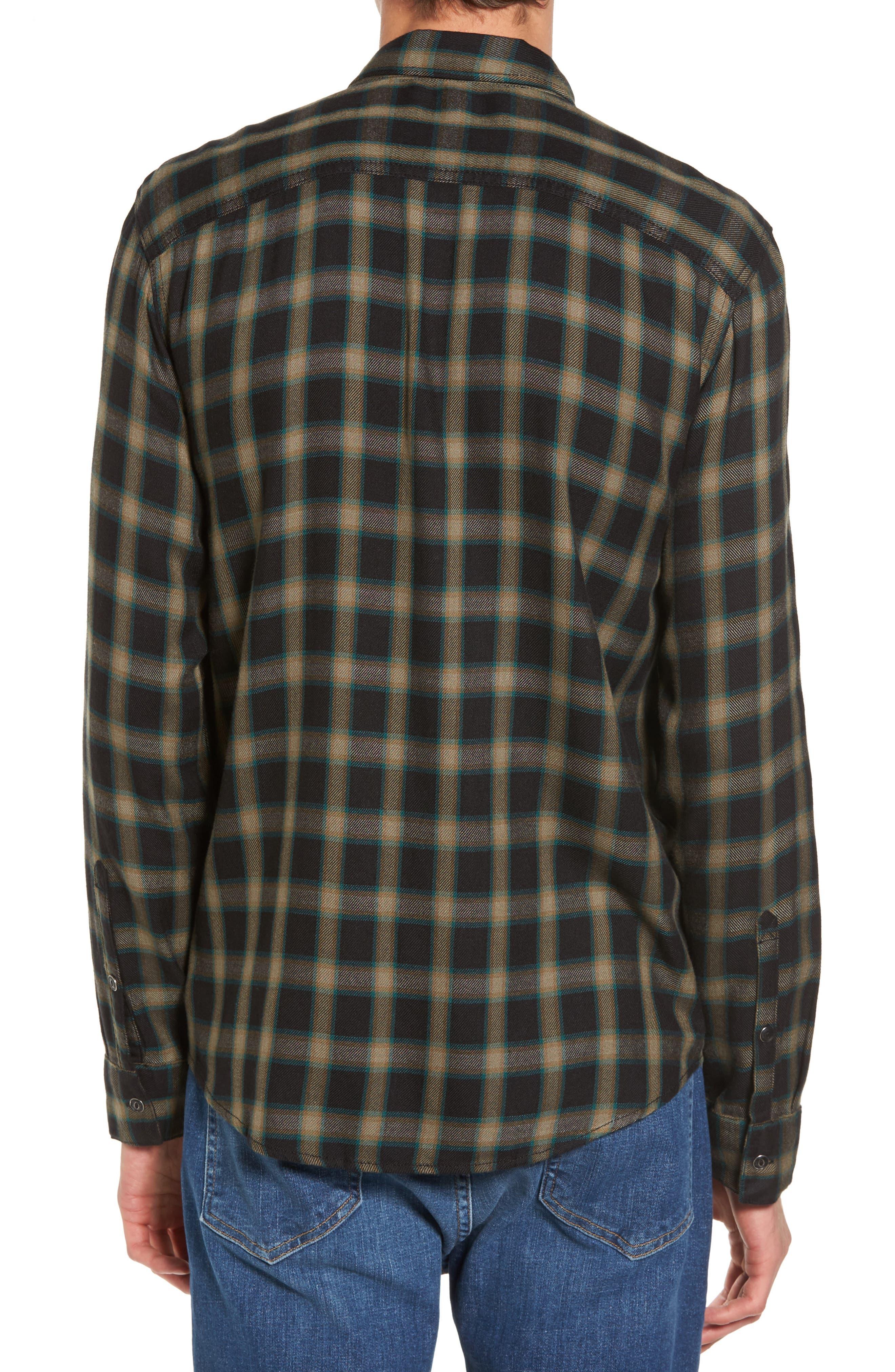Virgil Plaid Sport Shirt,                             Alternate thumbnail 2, color,                             Black Rock Green Edocha Plaid