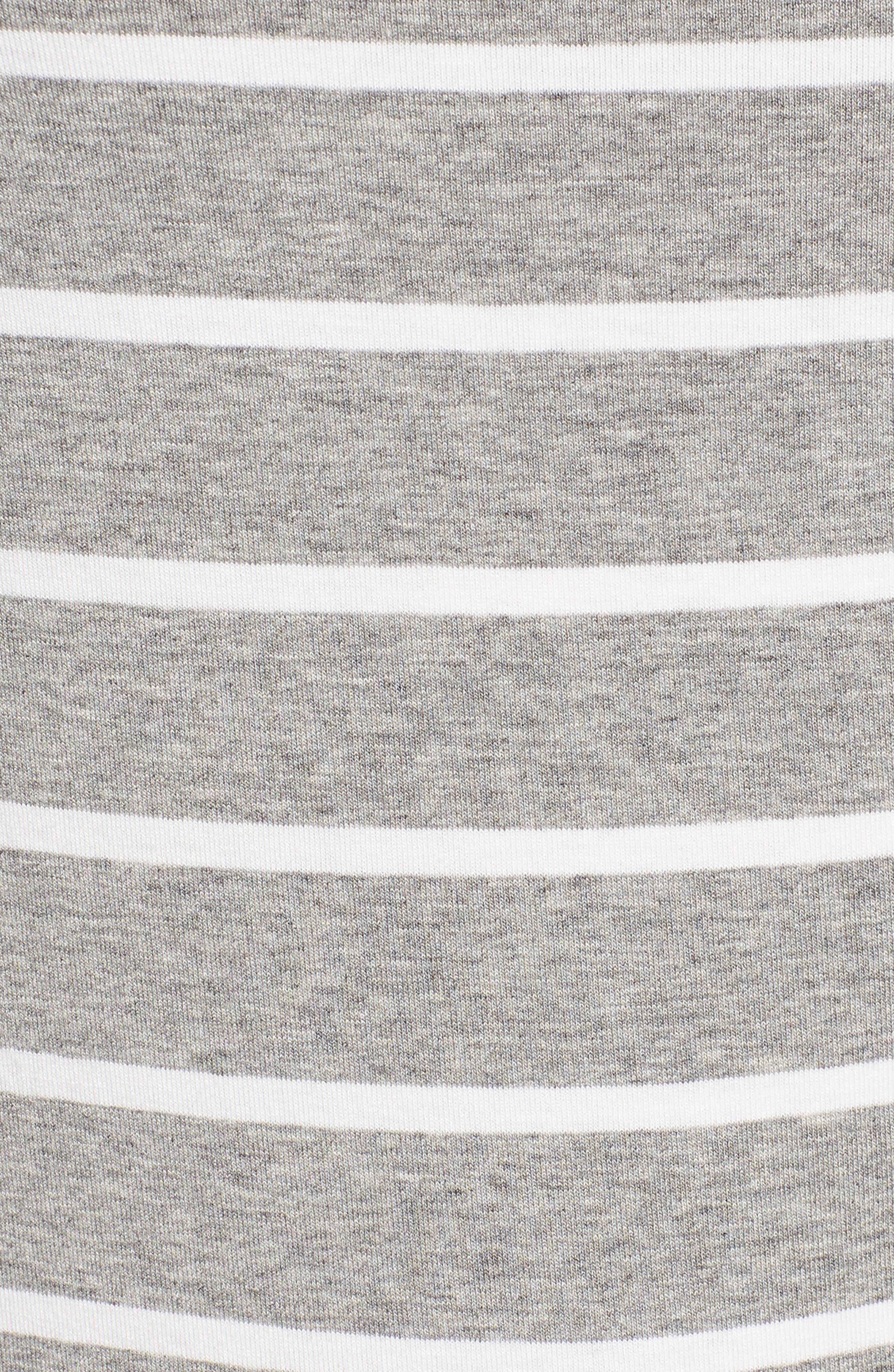 Long Sleeve Bateau Neck Tee,                             Alternate thumbnail 5, color,                             Grey Heather- Ivory Stripe