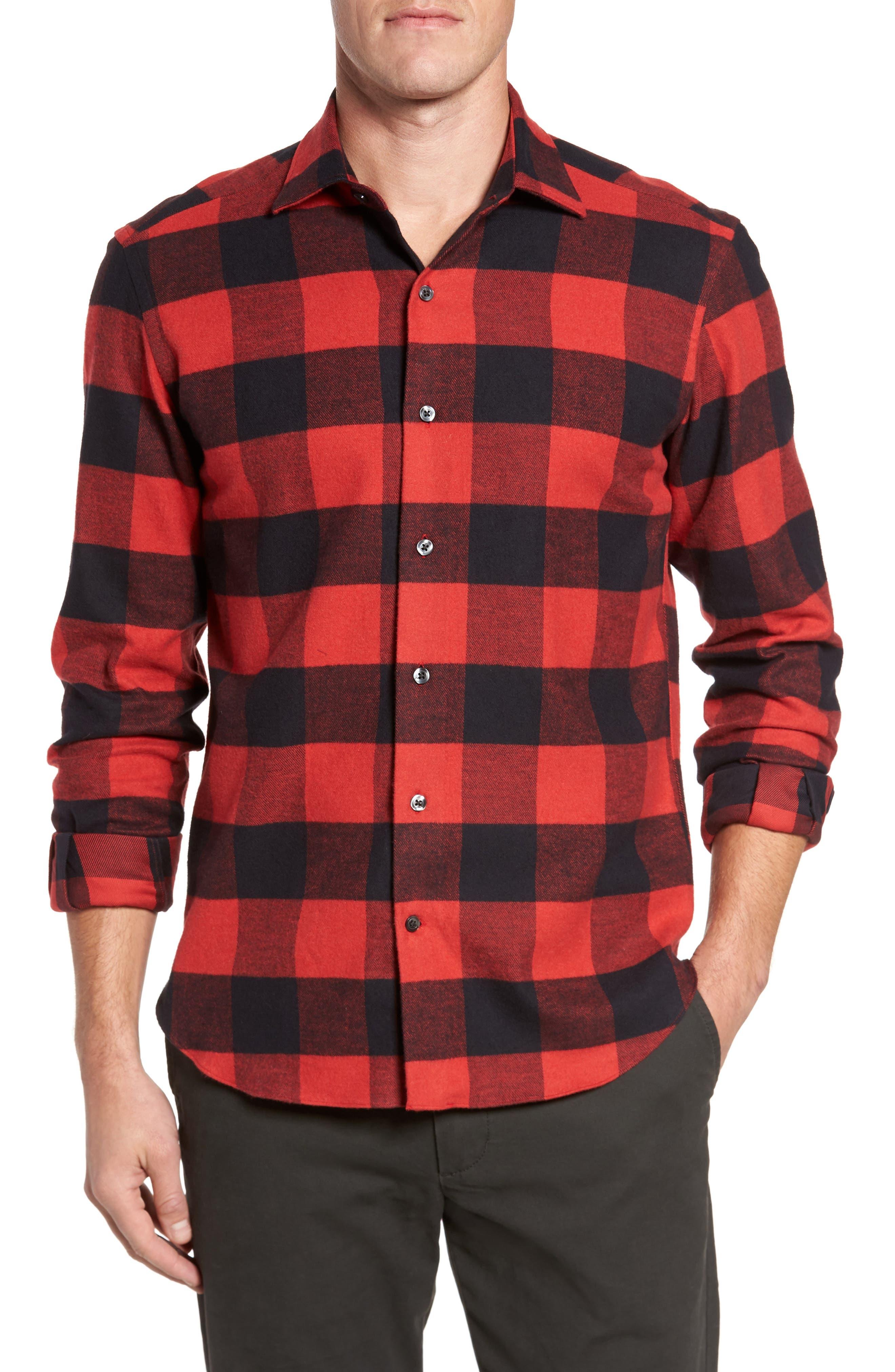 Slim Fit Buffalo Plaid Sport Shirt,                             Main thumbnail 1, color,                             Red