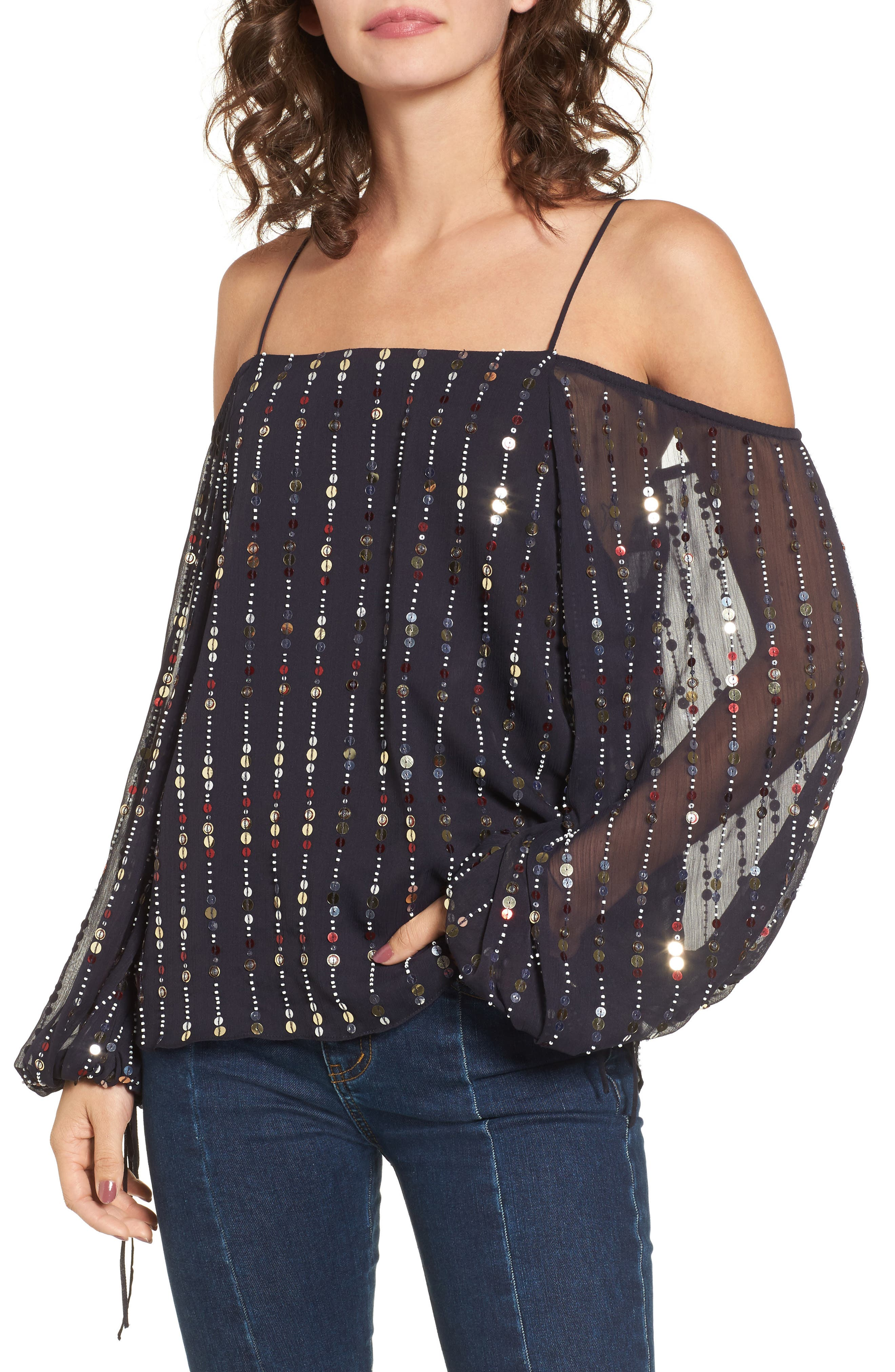 Cleo Sequin Date Night Blouse,                         Main,                         color, Navy Sequin