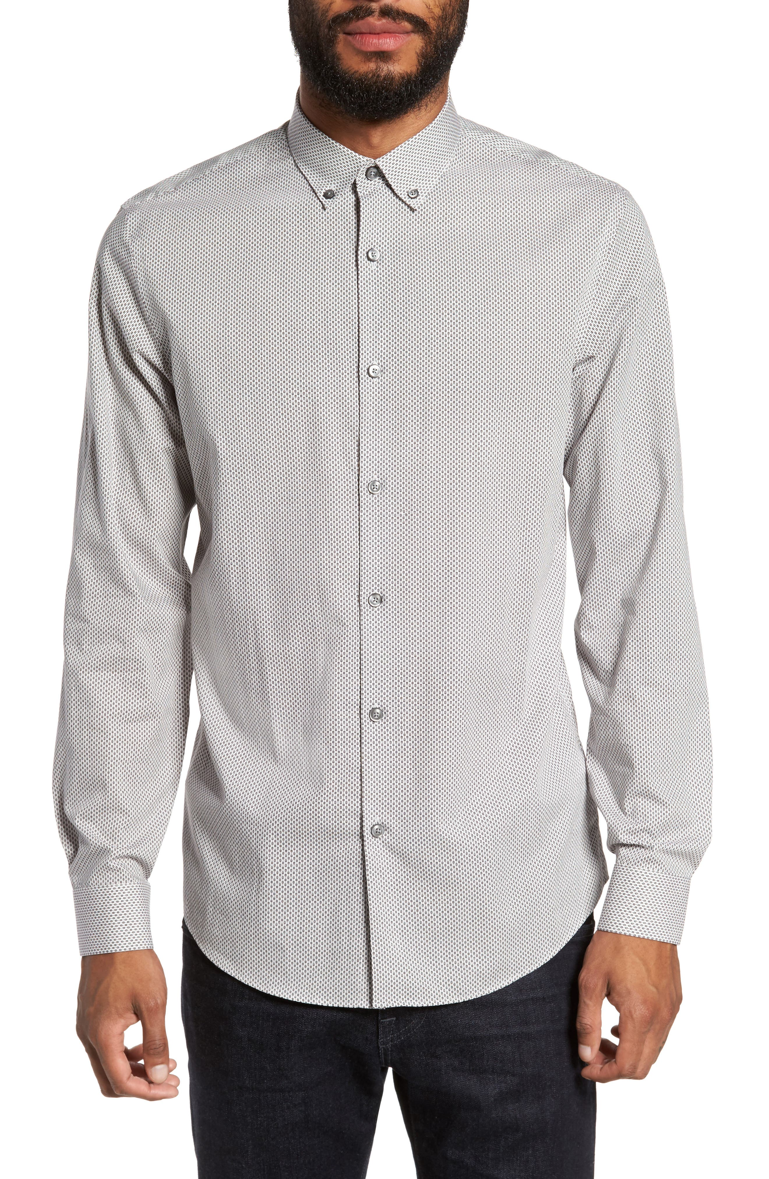 Trim Fit Print Sport Shirt,                         Main,                         color, Black White Circle Print