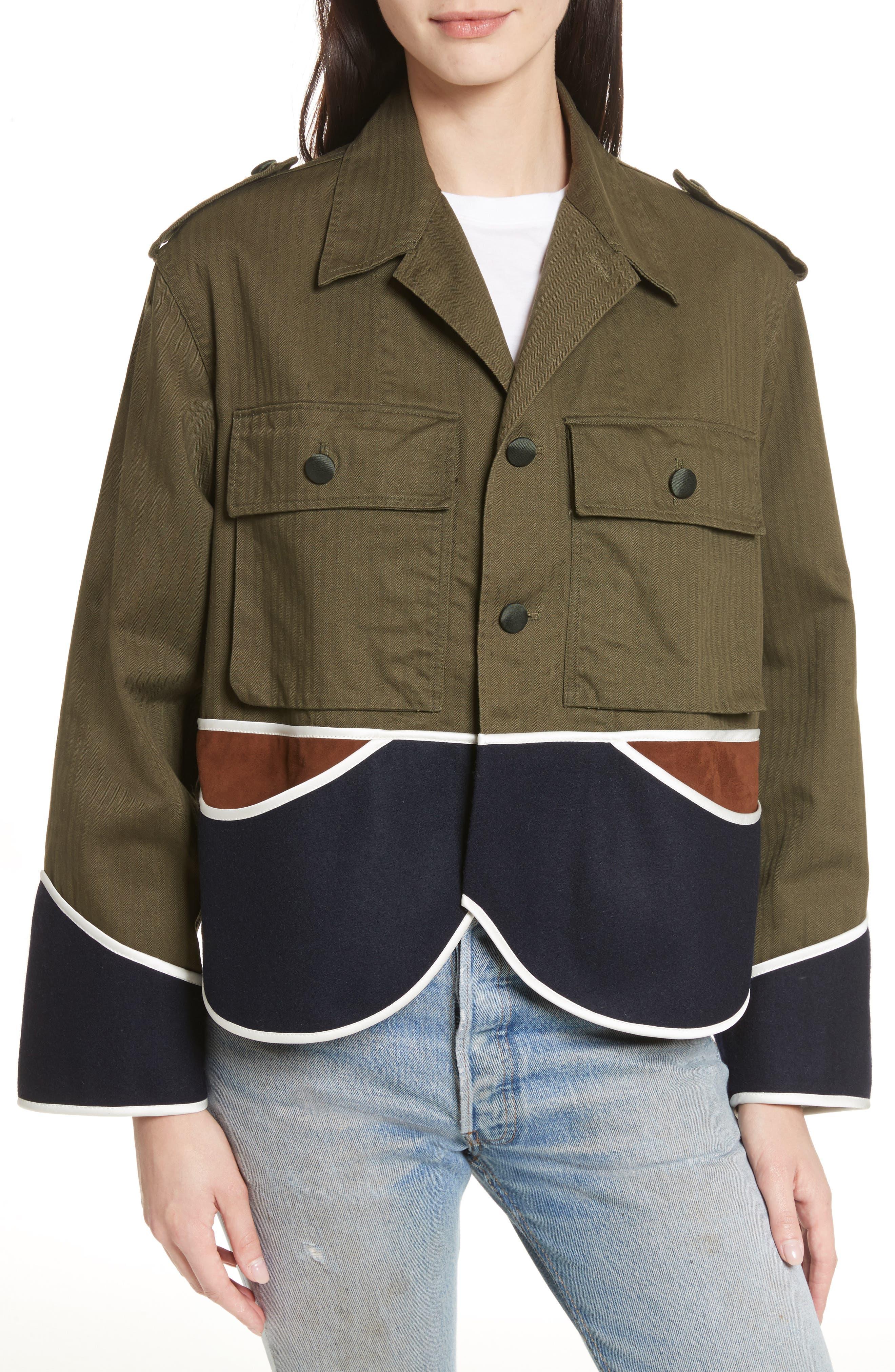 Vintage Crop Jacket,                         Main,                         color, Olive