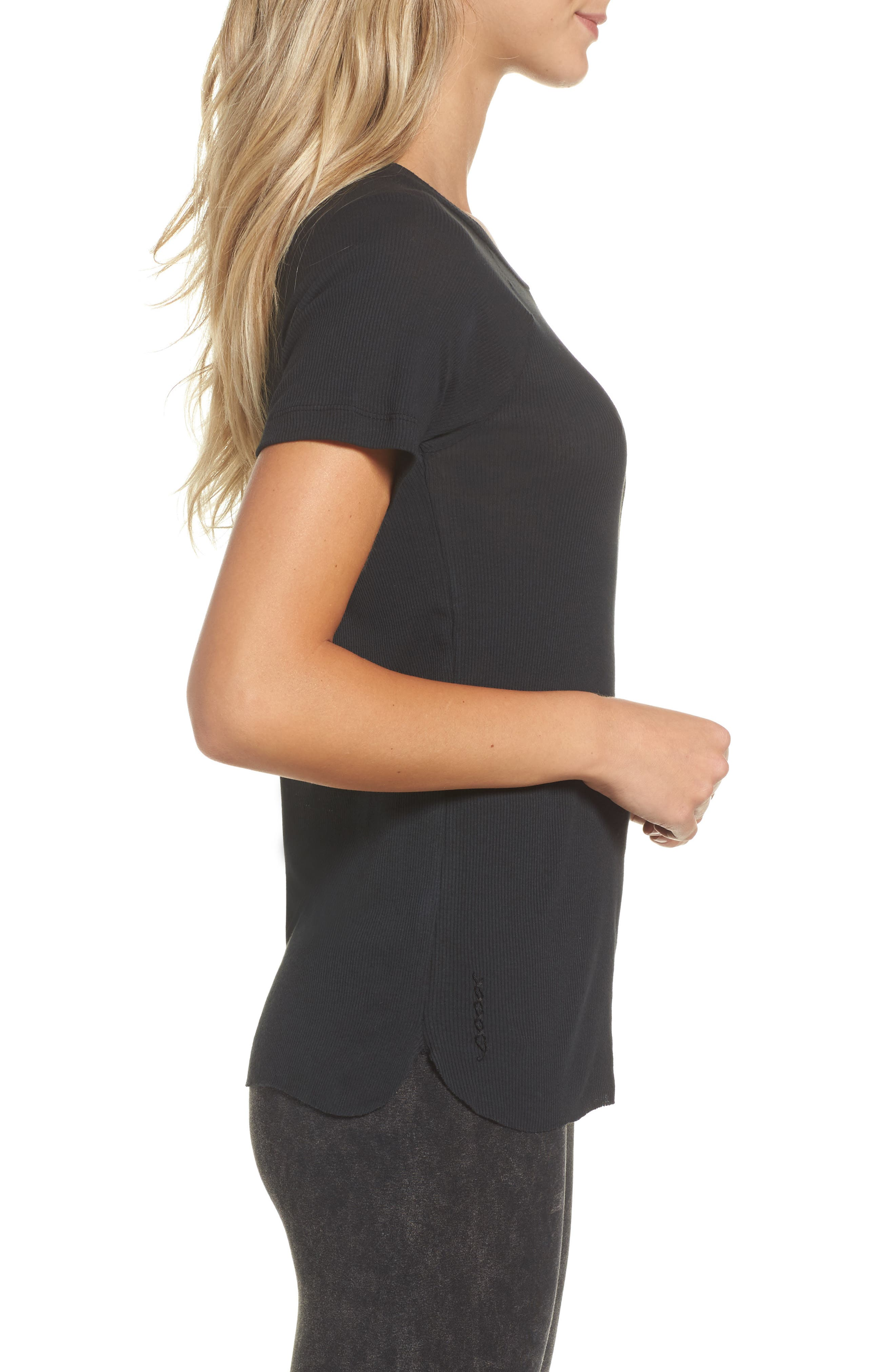 Ribbed Tee,                             Alternate thumbnail 3, color,                             Faded Black