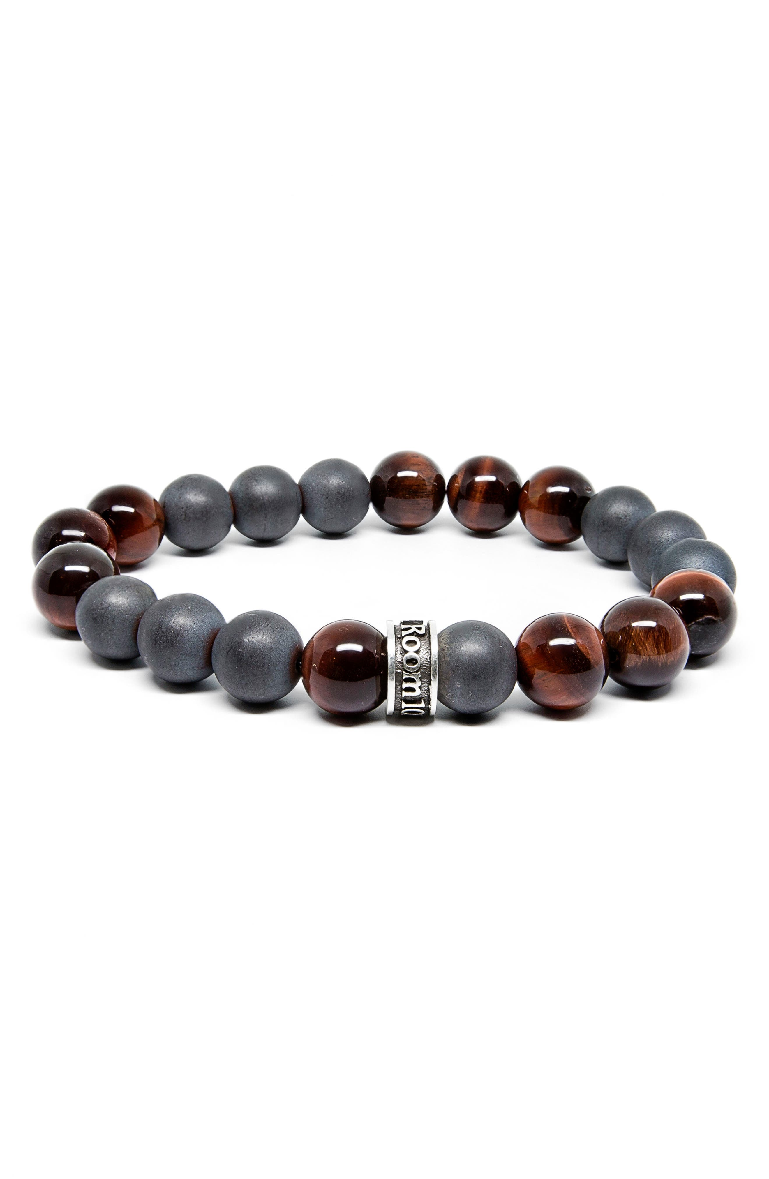 Hematite Red Tiger's Eye Stretch Bracelet,                         Main,                         color, Silver/ Red