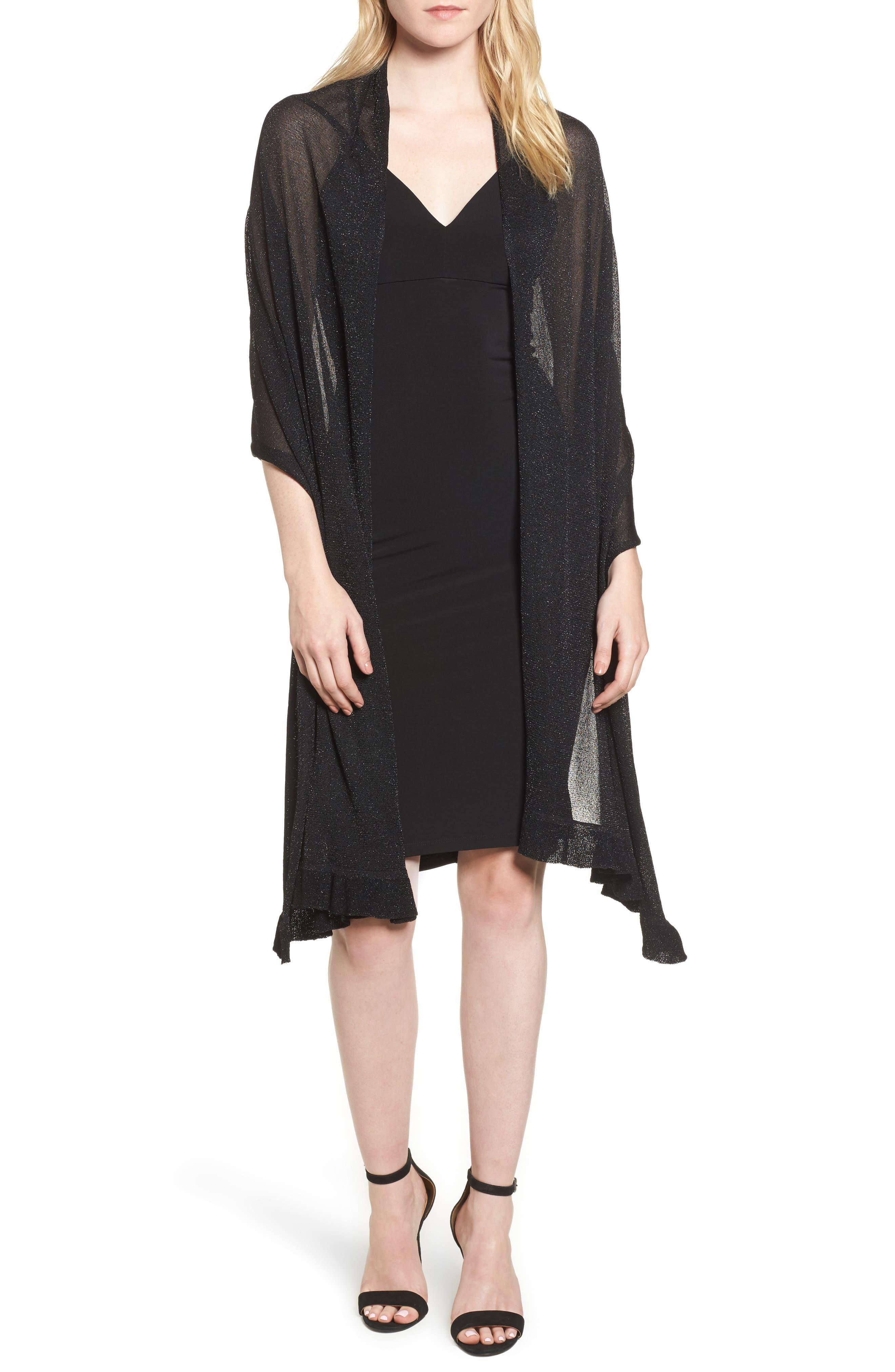 Metallic Knit Wrap,                         Main,                         color, Black