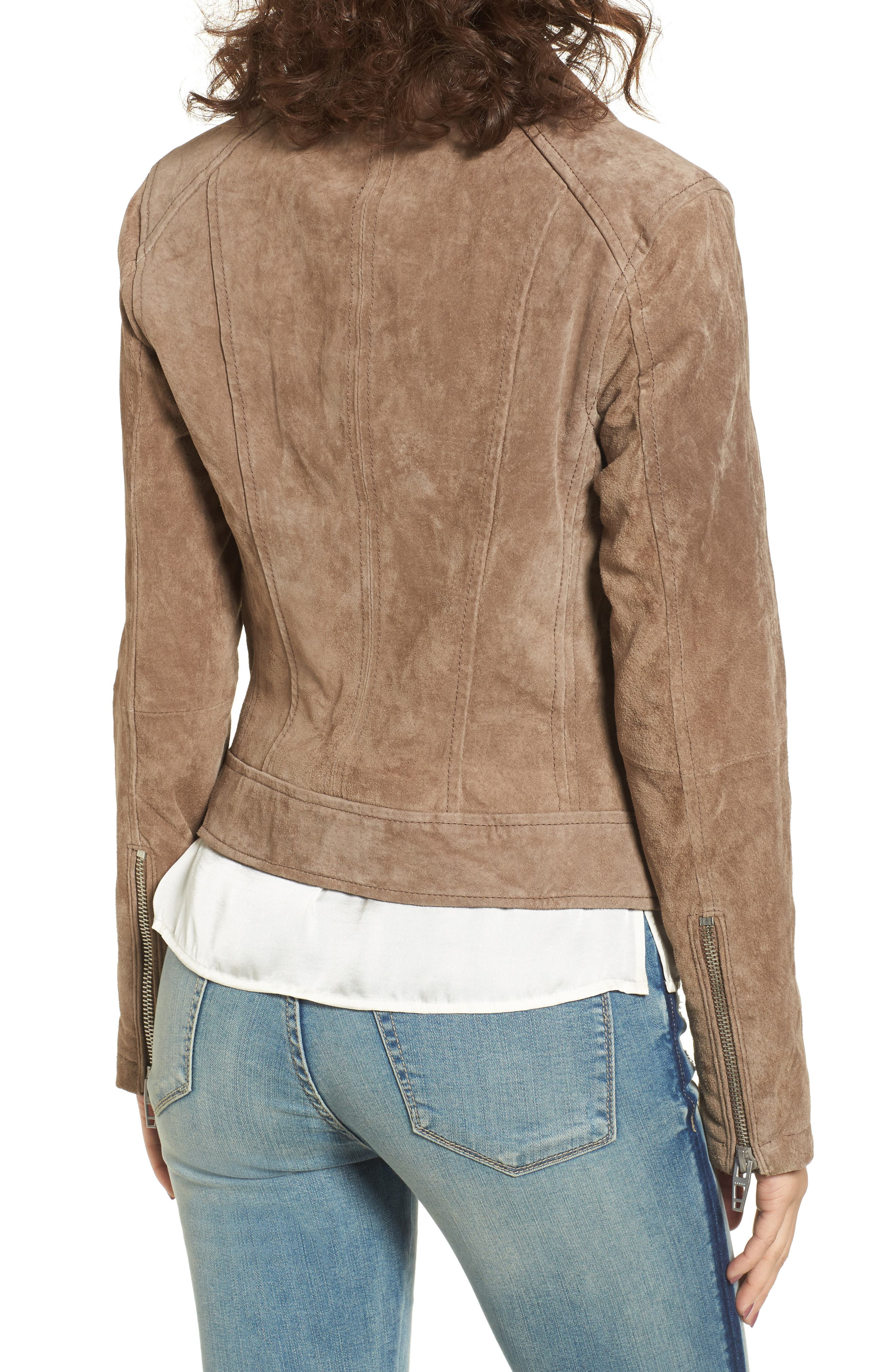 Suede Moto Jacket,                             Alternate thumbnail 2, color,                             Midnight Toker