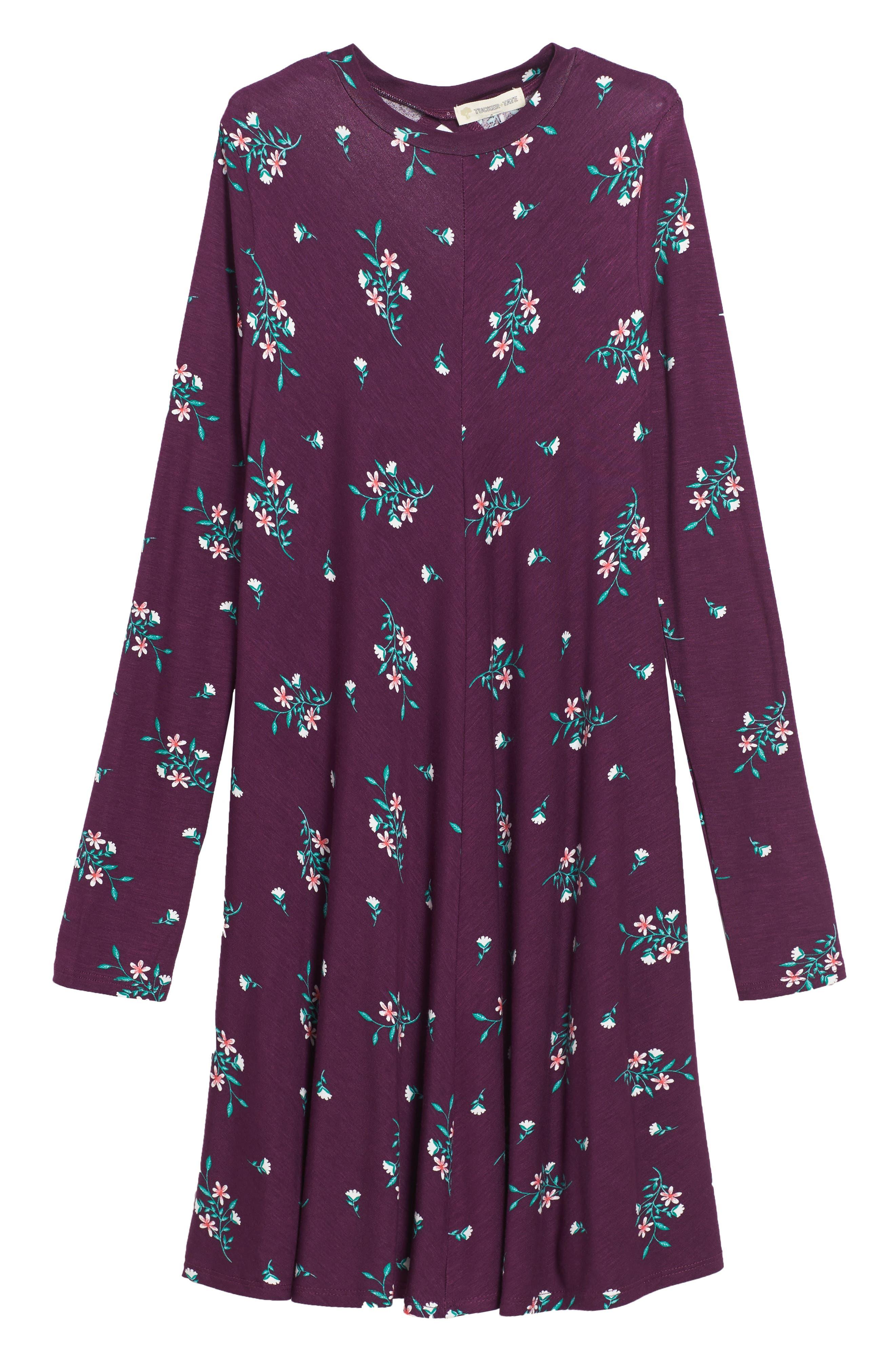 Tucker + Tate Floral Print Knit A-Line Dress (Big Girls)