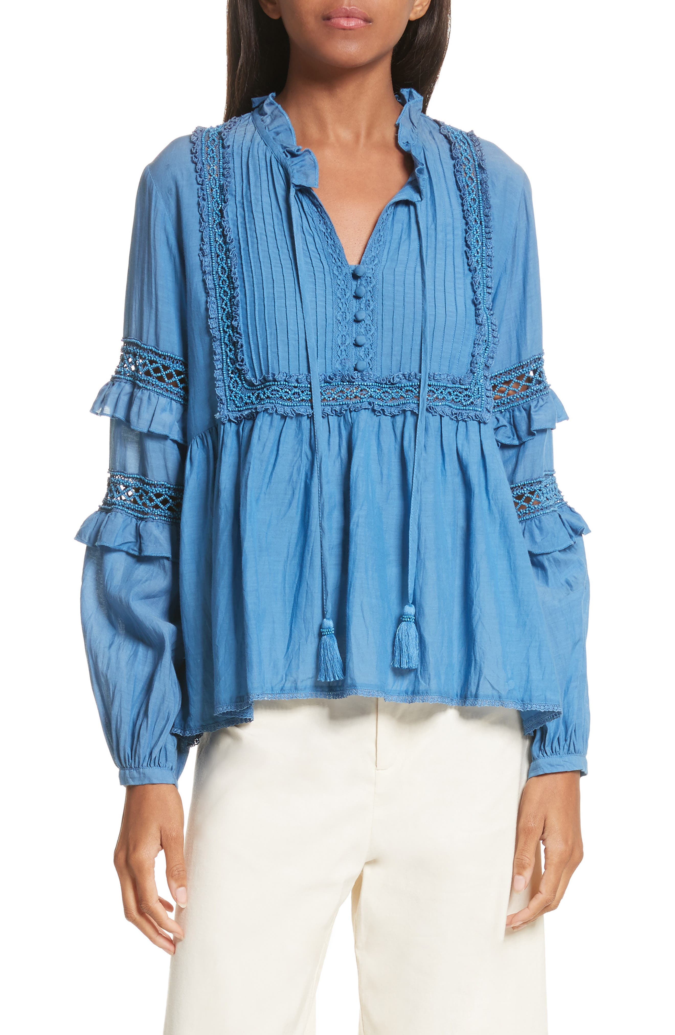 Adaline Ruffle Cotton Blouse,                             Main thumbnail 1, color,                             Blue