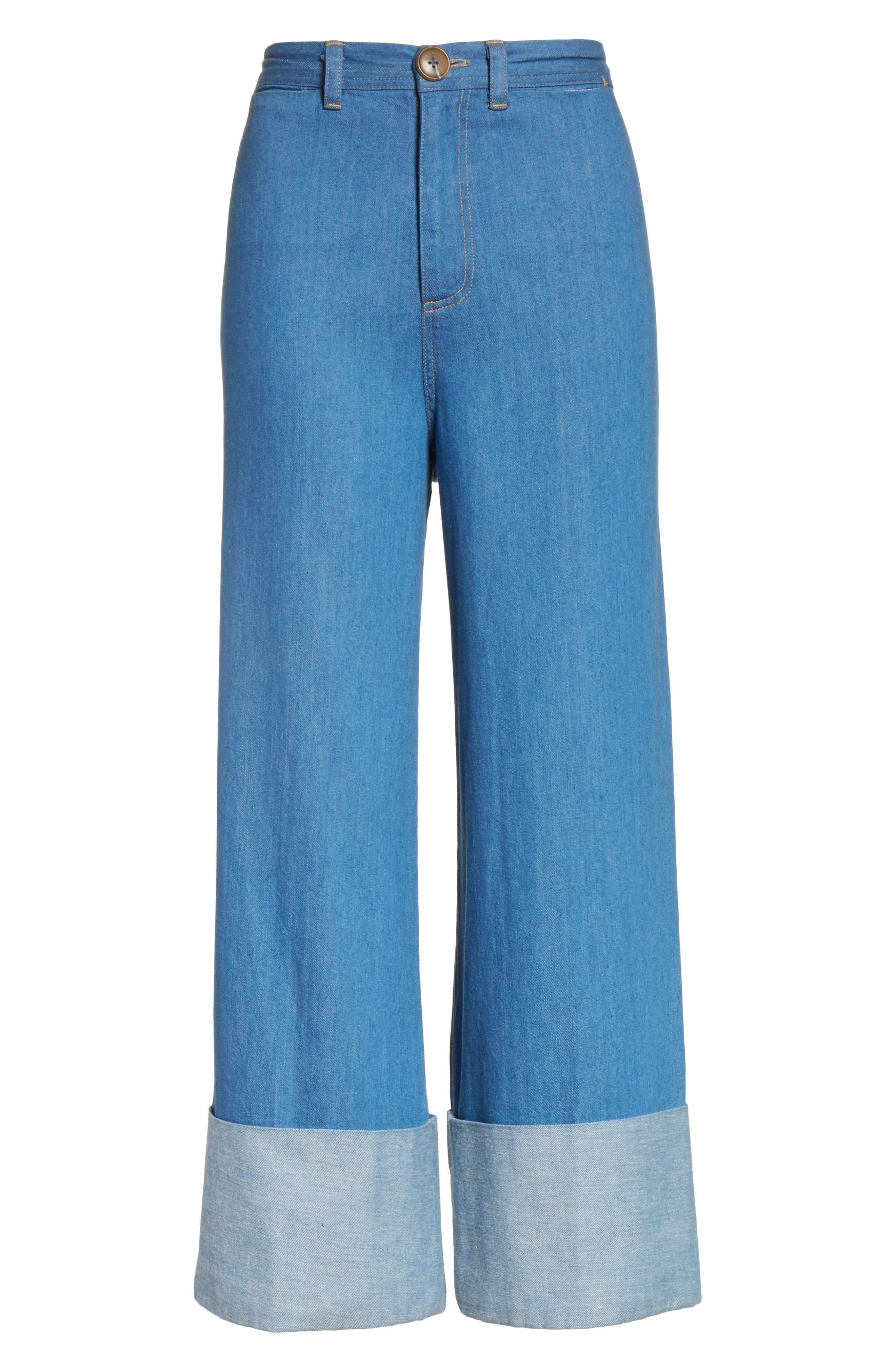 Classic Cuffed Wide Leg Jeans,                             Alternate thumbnail 7, color,                             Light Indigo