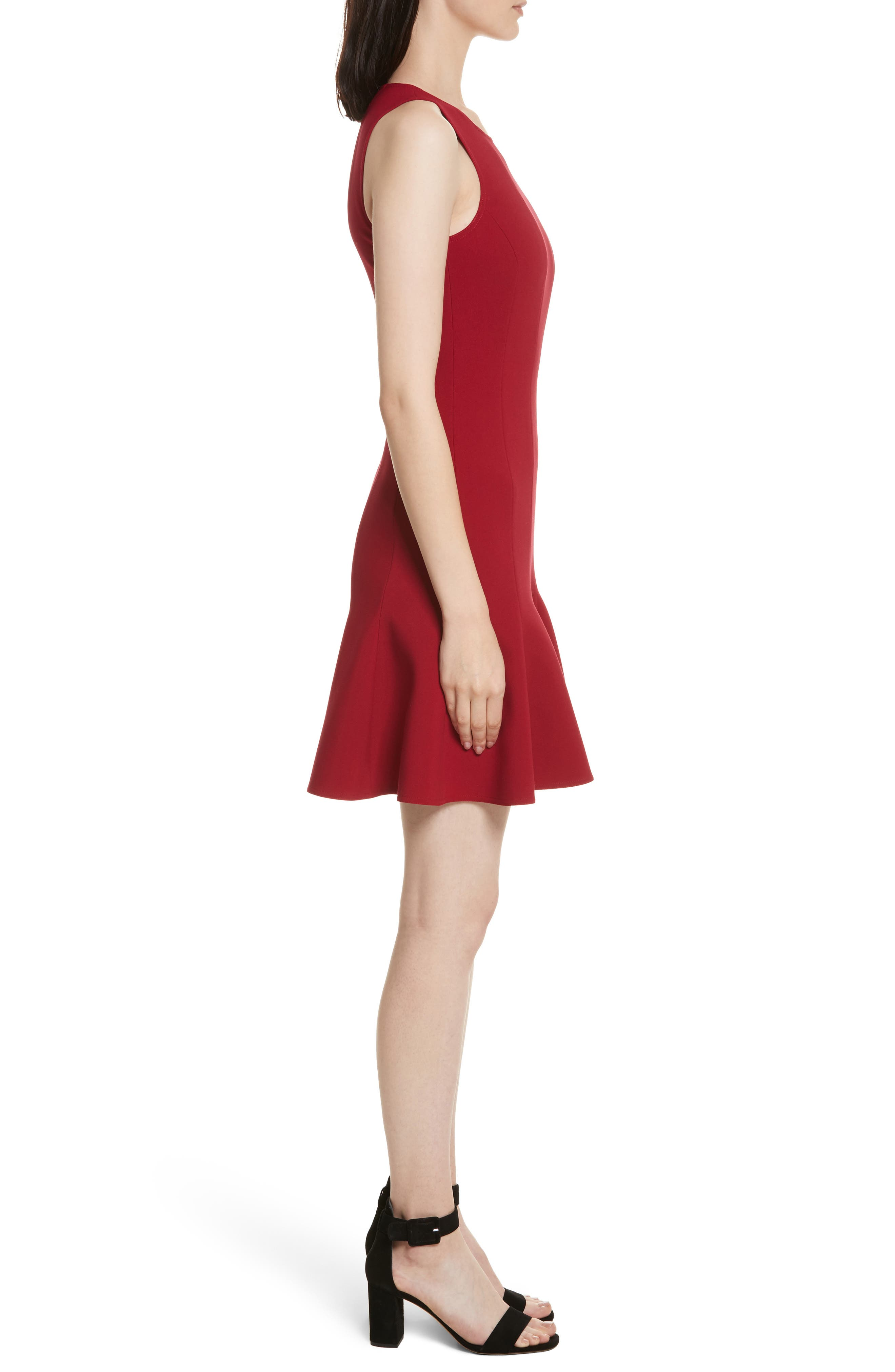 Rooney Flare Hem Dress,                             Alternate thumbnail 3, color,                             Ruby