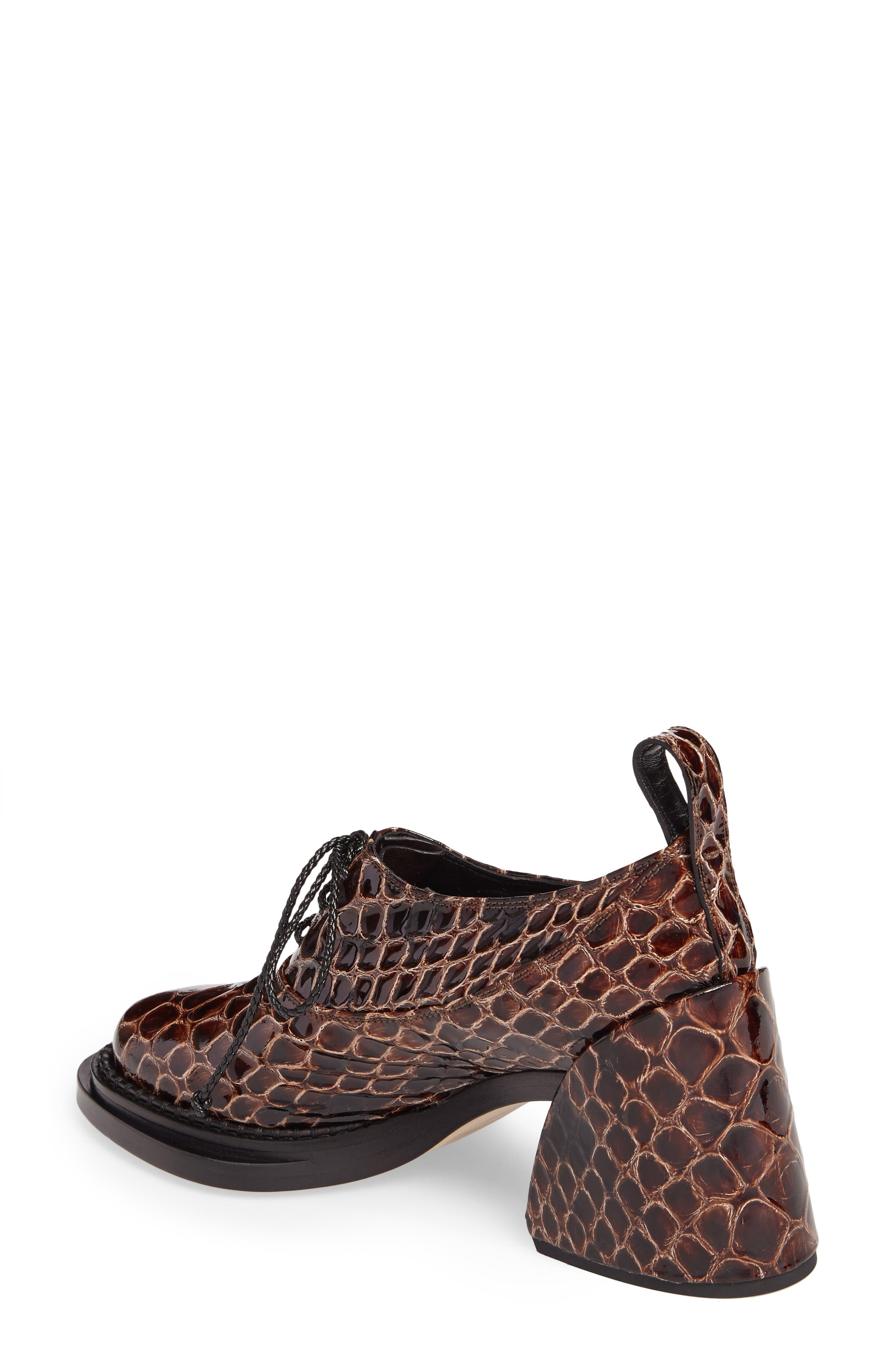 Shell Heel Snake Embossed Leather Oxford,                             Alternate thumbnail 2, color,                             Brown